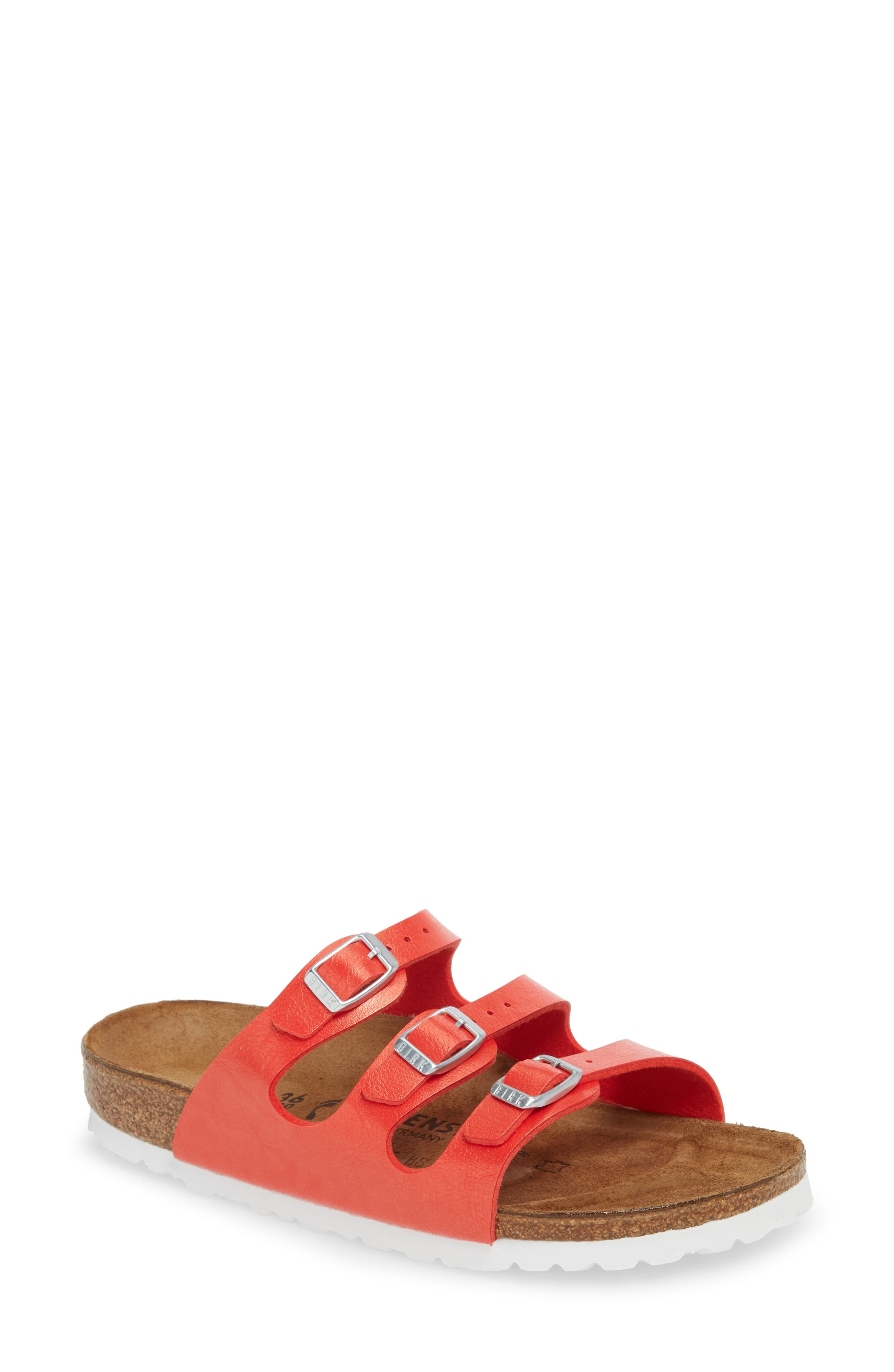 'Florida' Soft Footbed Sandal,                             Main thumbnail 1, color,                             Graceful Hibiscus Leather