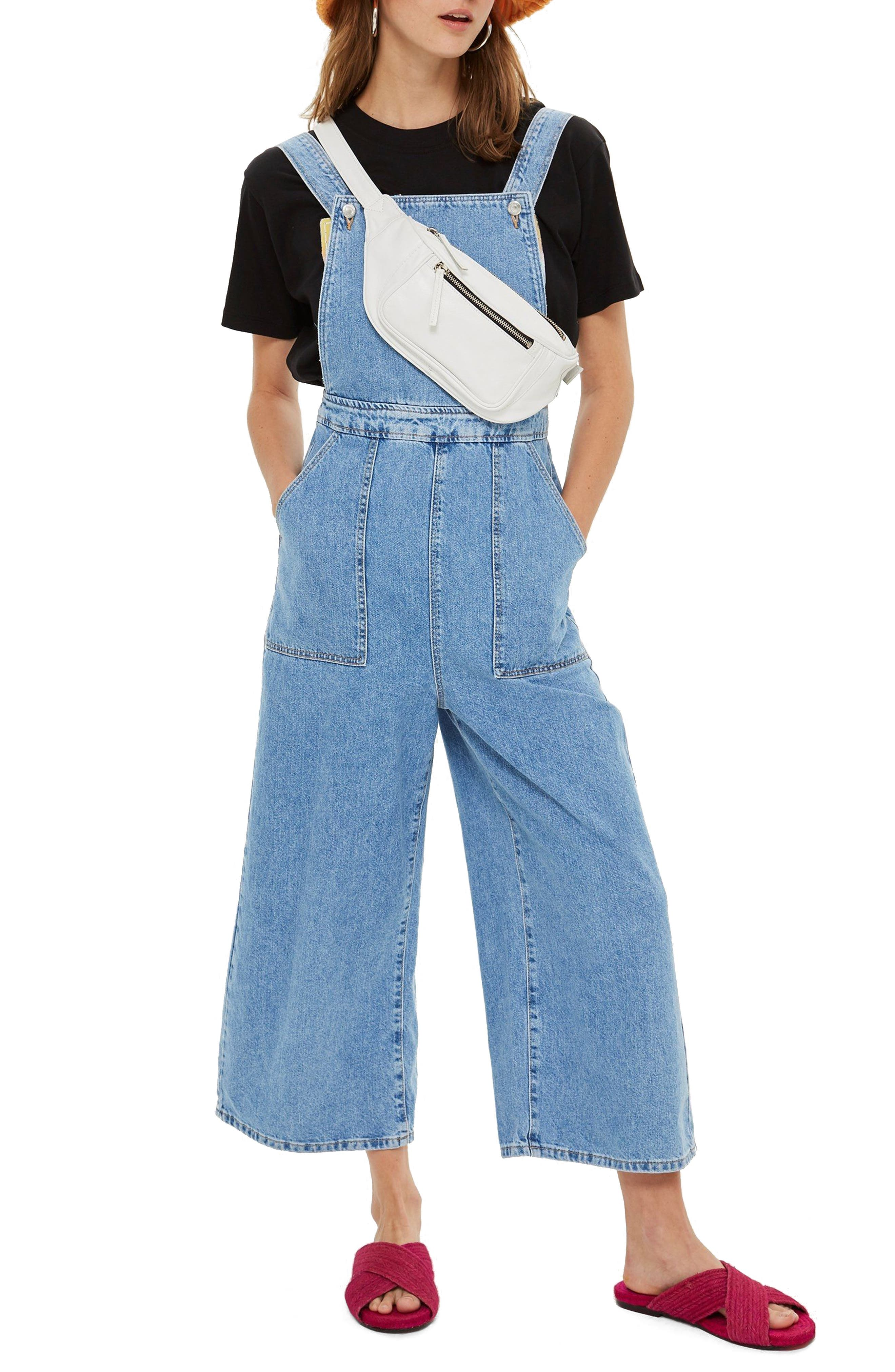 Topship Wide Leg Crop Overalls,                         Main,                         color, Mid Stone
