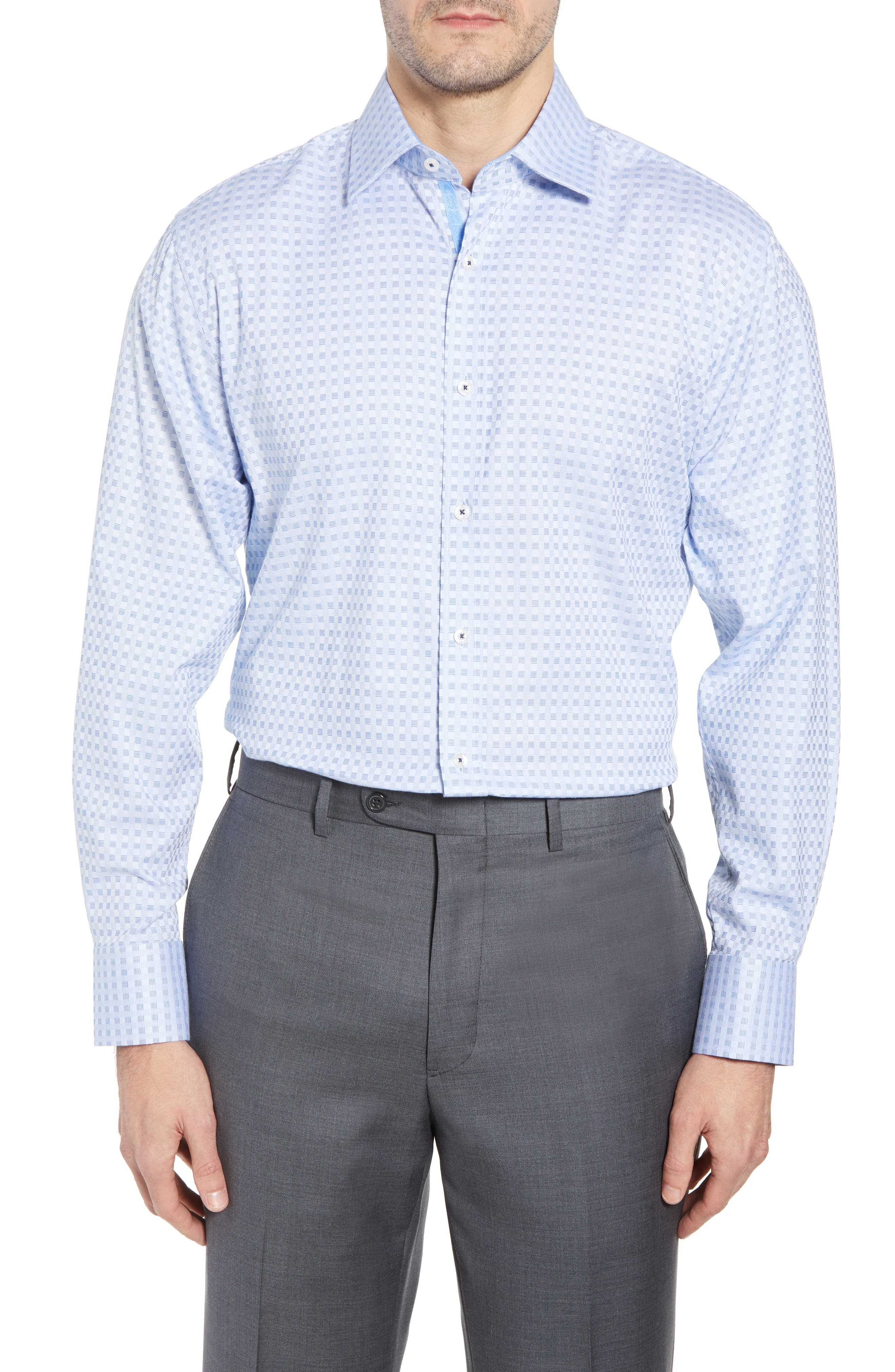 Check Regular Fit Dress Shirt,                             Main thumbnail 1, color,                             Blue