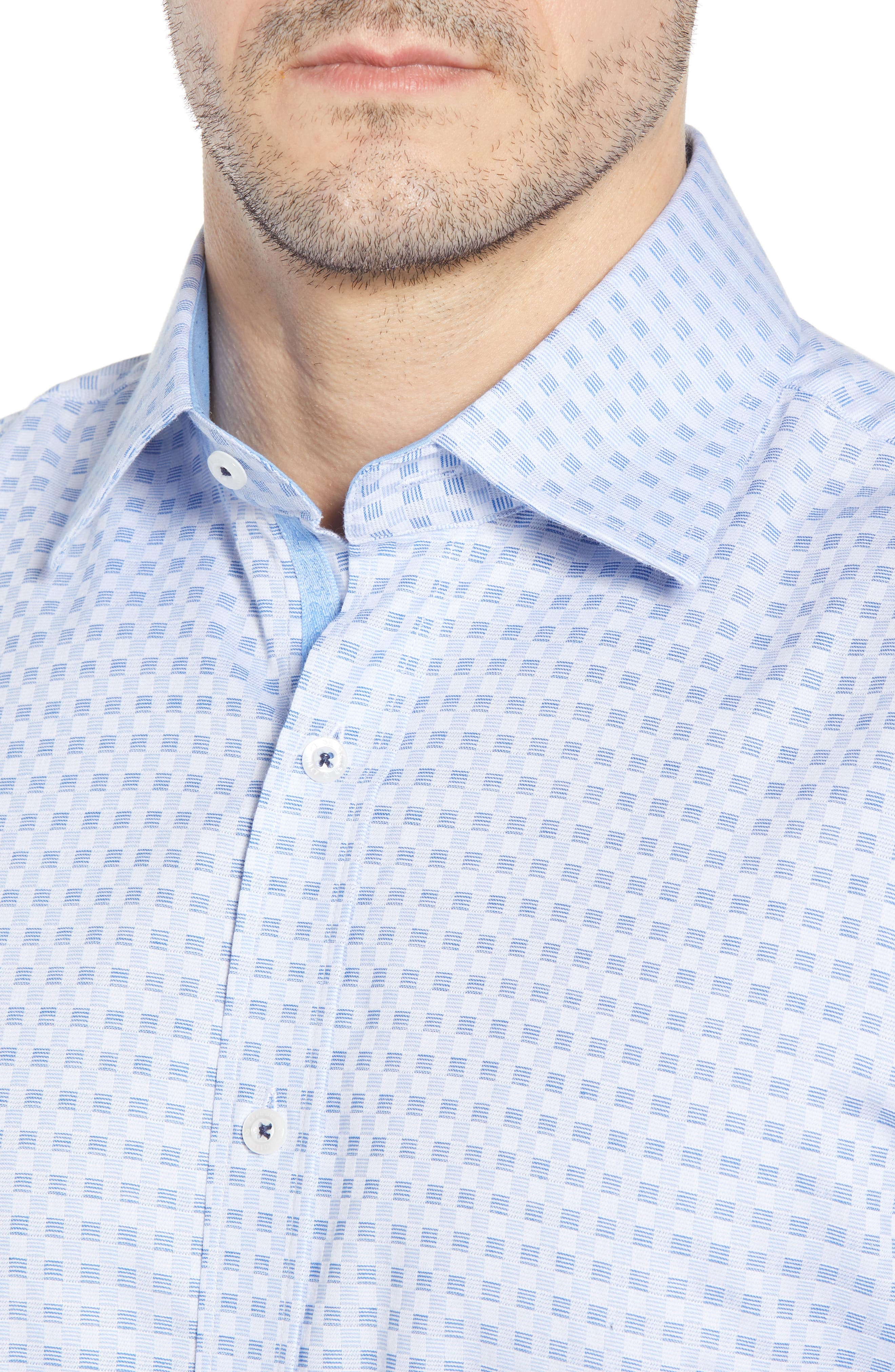 Check Regular Fit Dress Shirt,                             Alternate thumbnail 2, color,                             Blue