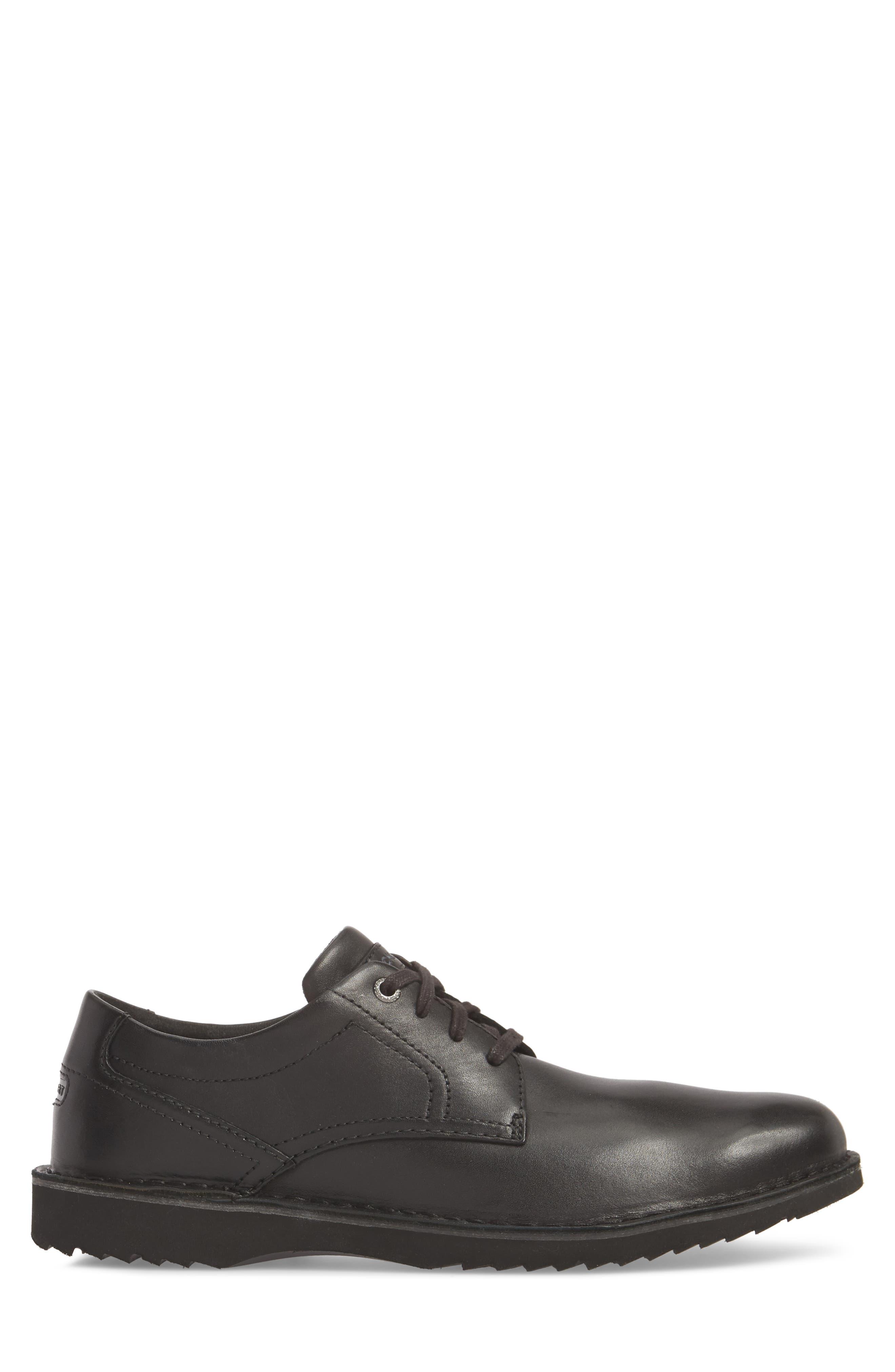 Cabot Plain Toe Derby,                             Alternate thumbnail 3, color,                             Black Leather