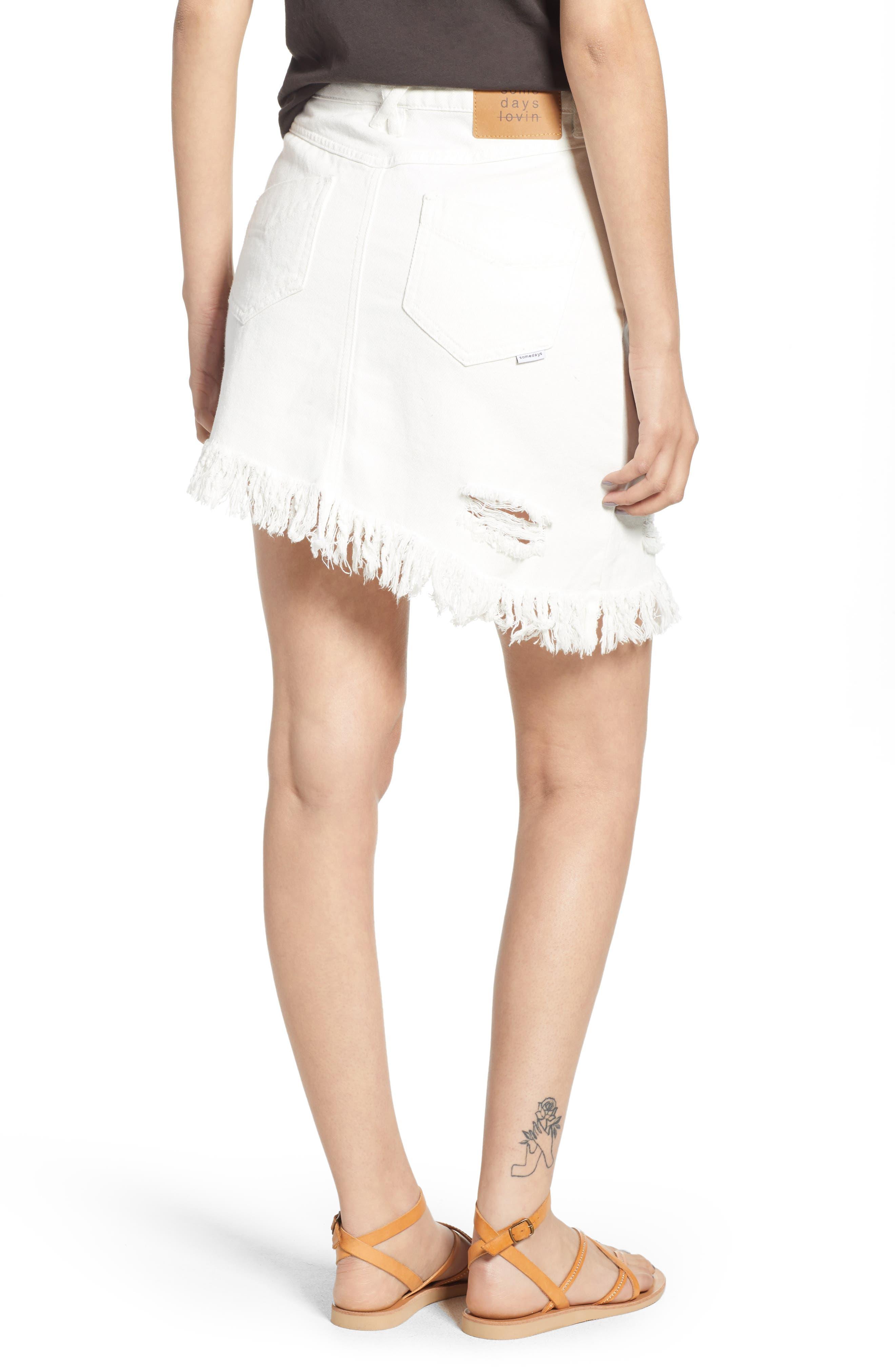 Shimmering Bays Ripped Denim Skirt,                             Alternate thumbnail 2, color,                             White