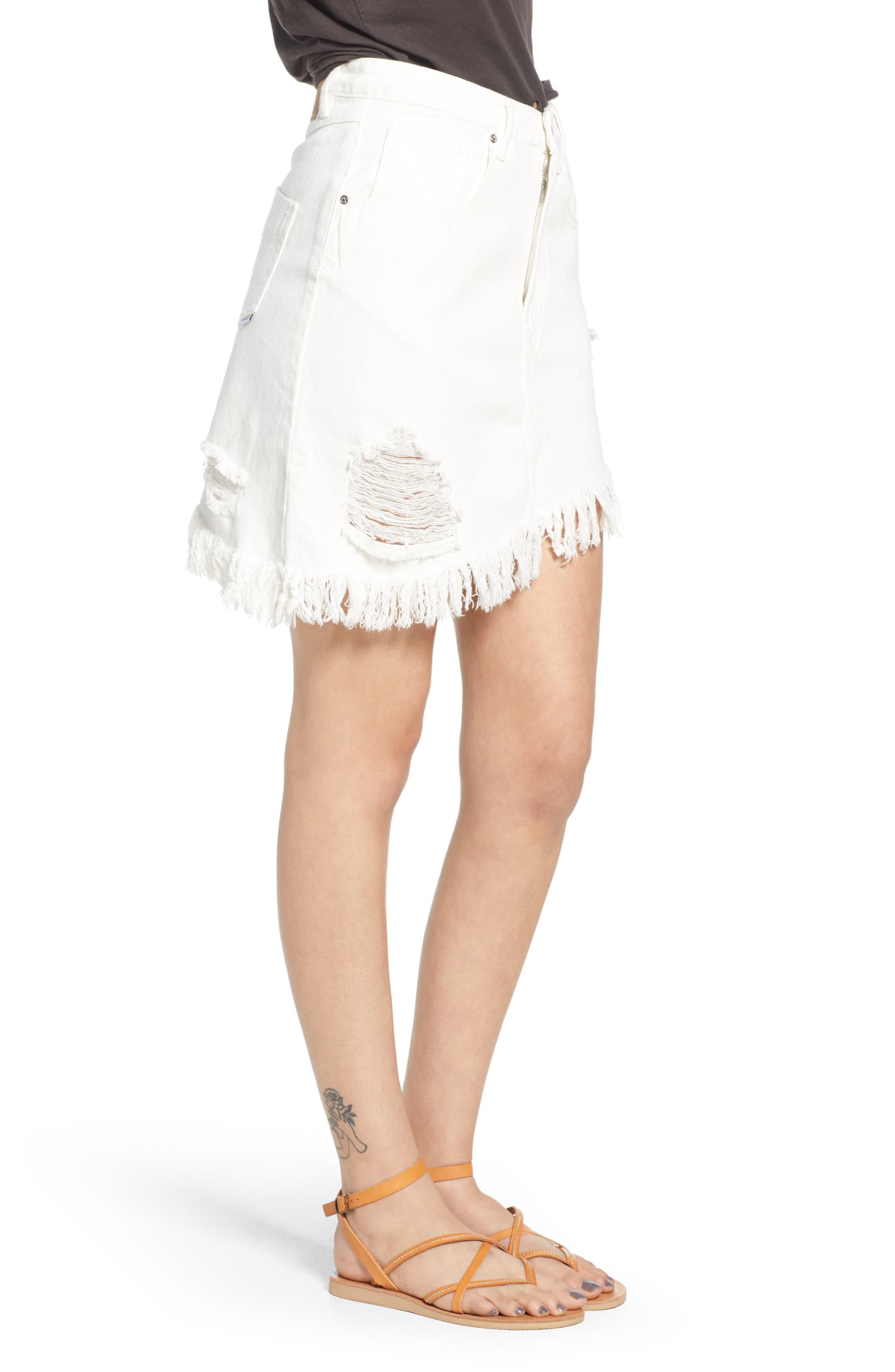 Shimmering Bays Ripped Denim Skirt,                             Alternate thumbnail 3, color,                             White