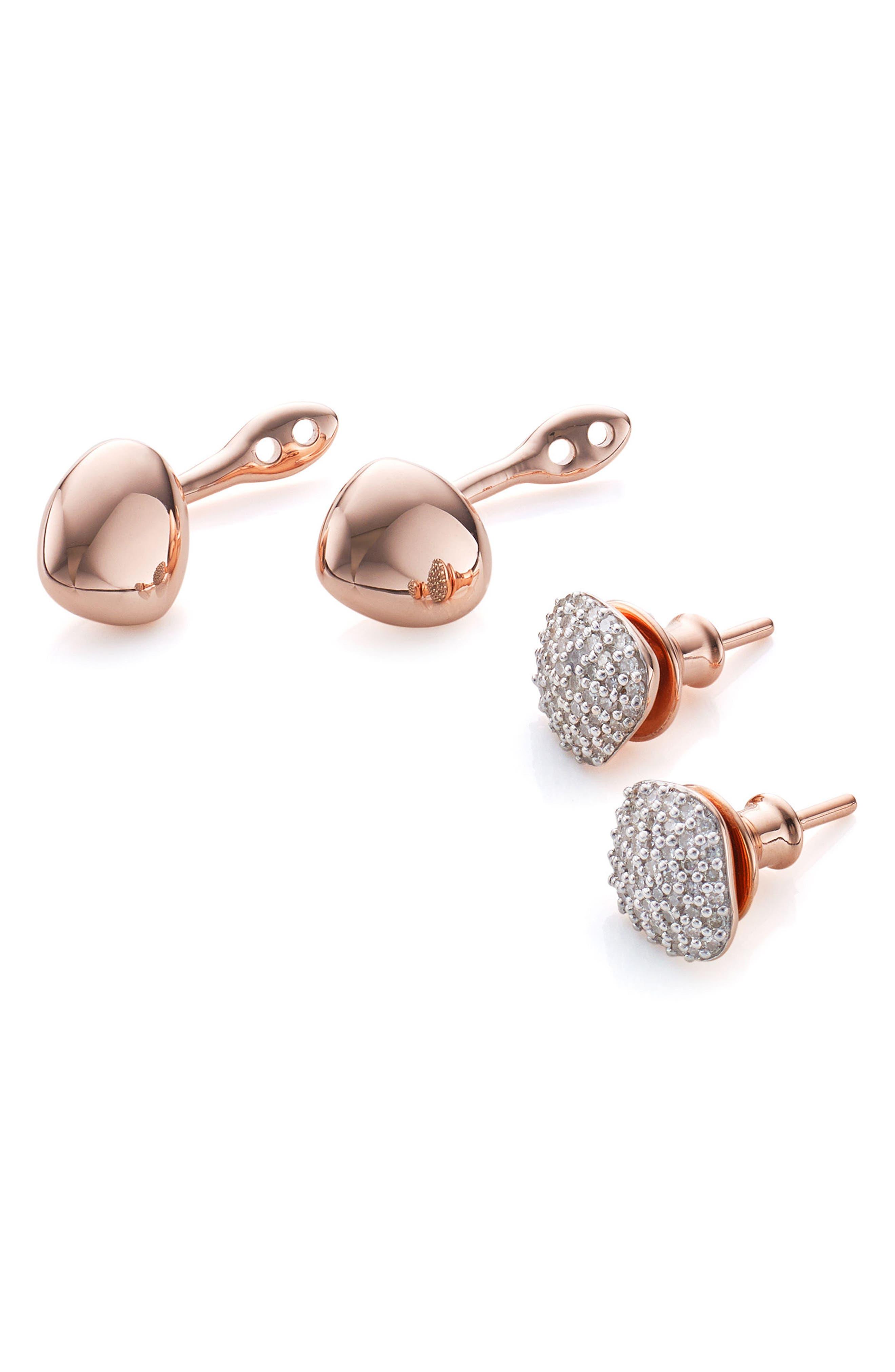 Nura Nugget Diamond Jacket Earrings,                             Alternate thumbnail 3, color,                             Rose Gold