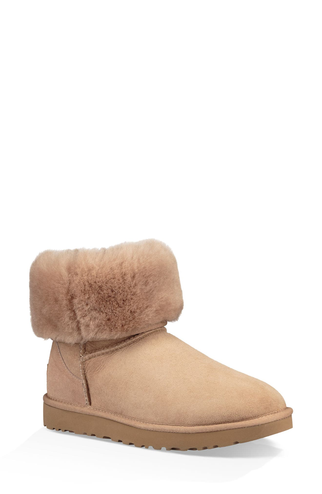 'Classic II' Genuine Shearling Lined Short Boot,                             Alternate thumbnail 3, color,                             Fawn Suede