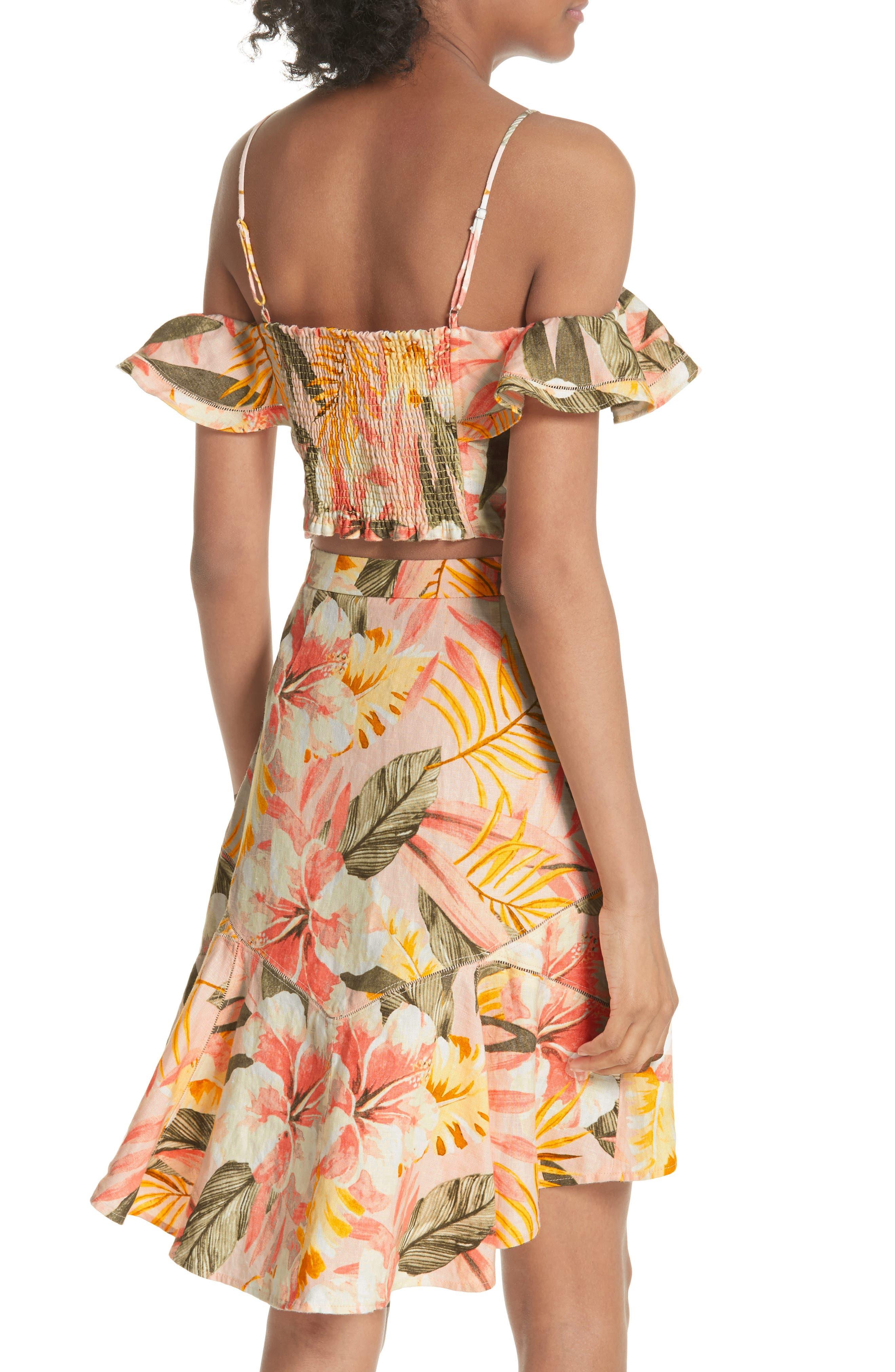 Jazbeth Floral Linen Top,                             Alternate thumbnail 2, color,                             Dusty Nude