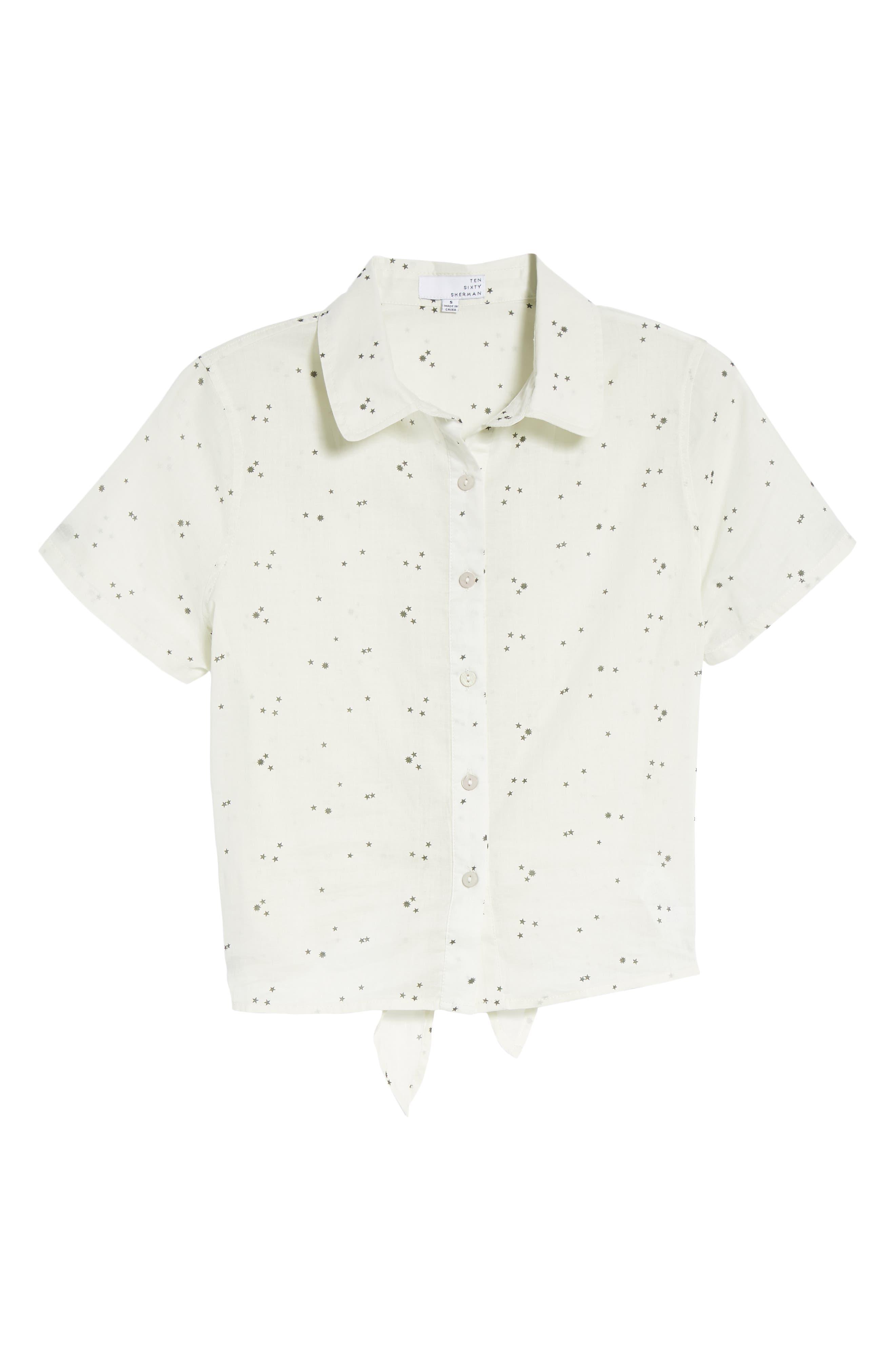 Tie Back Camp Shirt,                             Alternate thumbnail 7, color,                             White Star Print