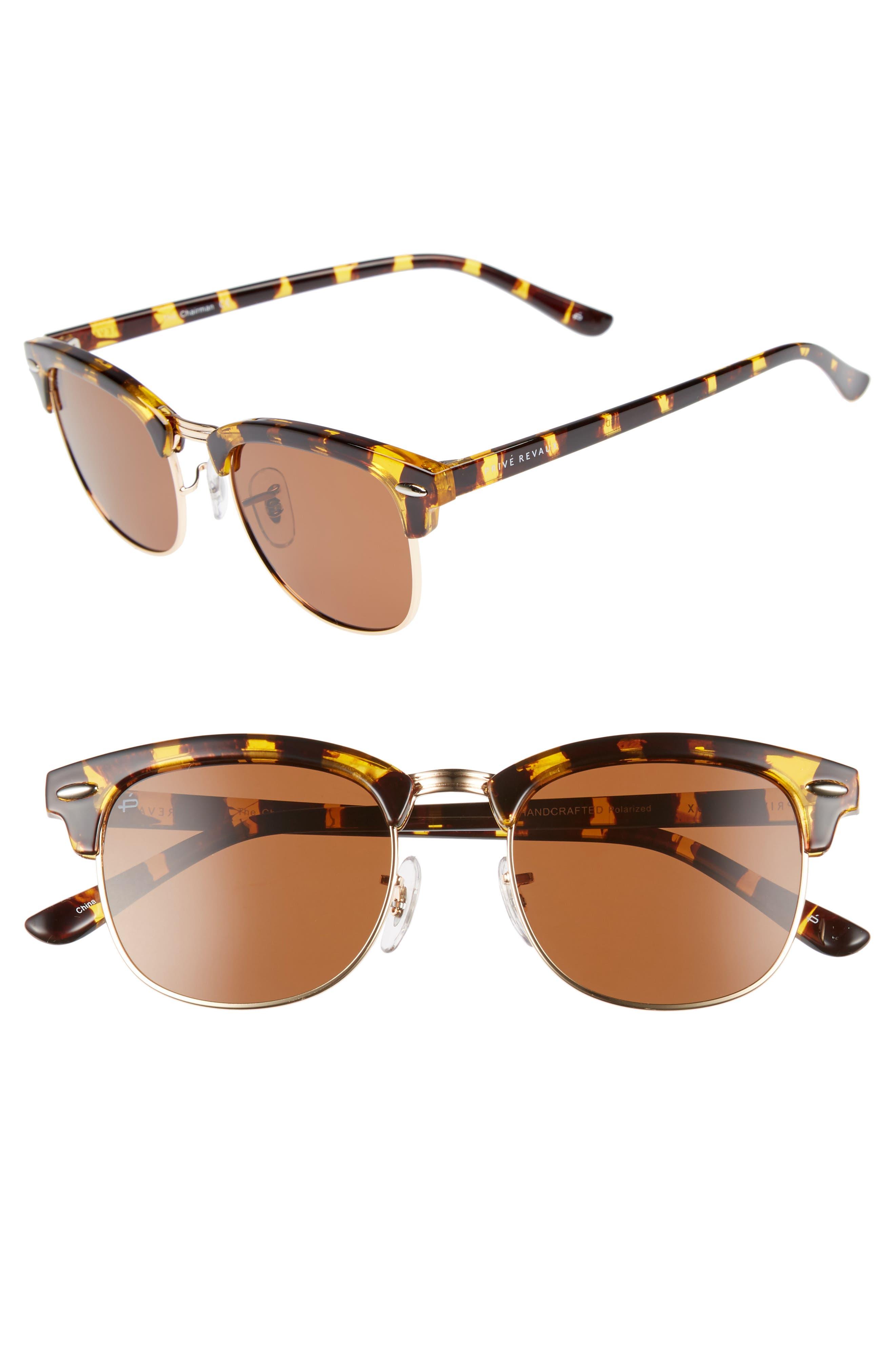 Privé Revaux The Chairman 52mm Polarized Browline Sunglasses,                             Main thumbnail 1, color,                             Tortoise