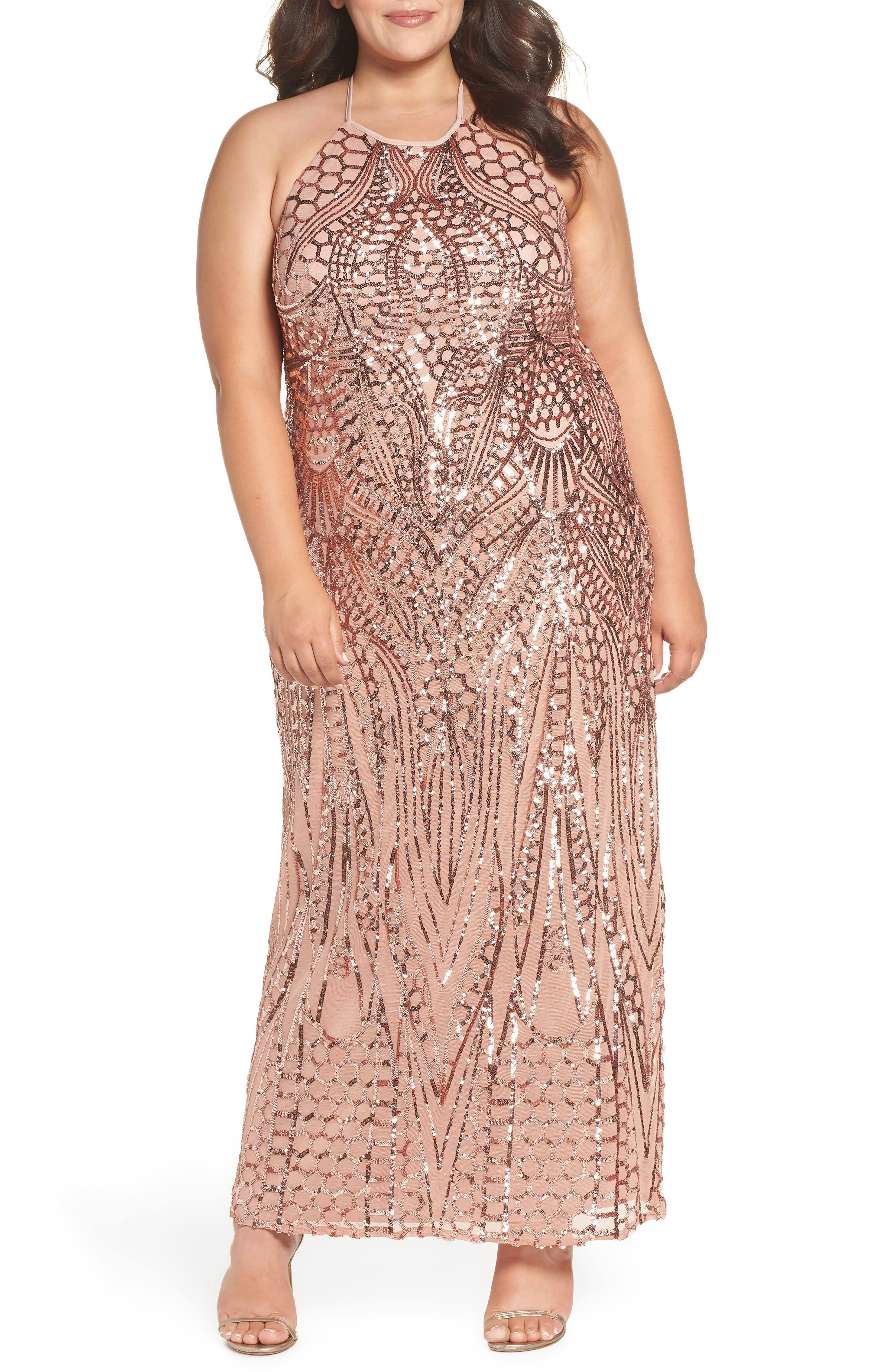 X-Back Sequin Mesh Gown,                             Main thumbnail 1, color,                             Rosegold