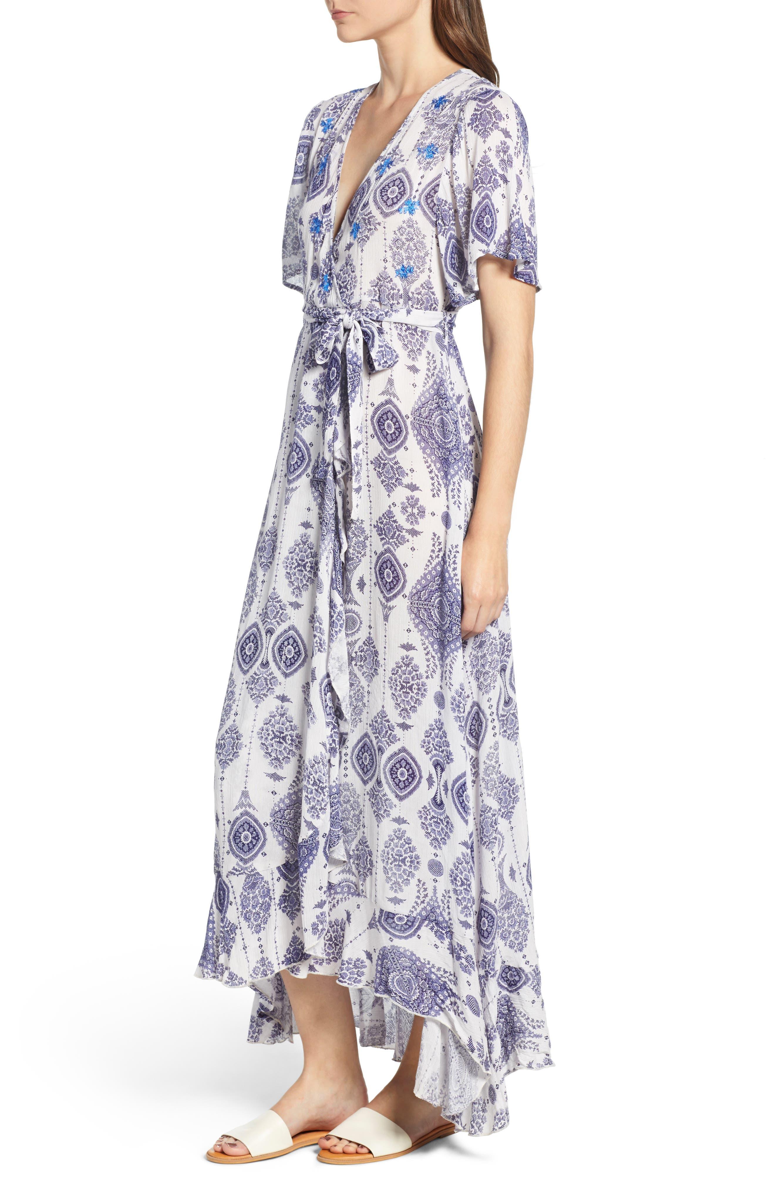 Andrea Maxi Dress,                             Alternate thumbnail 4, color,                             Blue/ White
