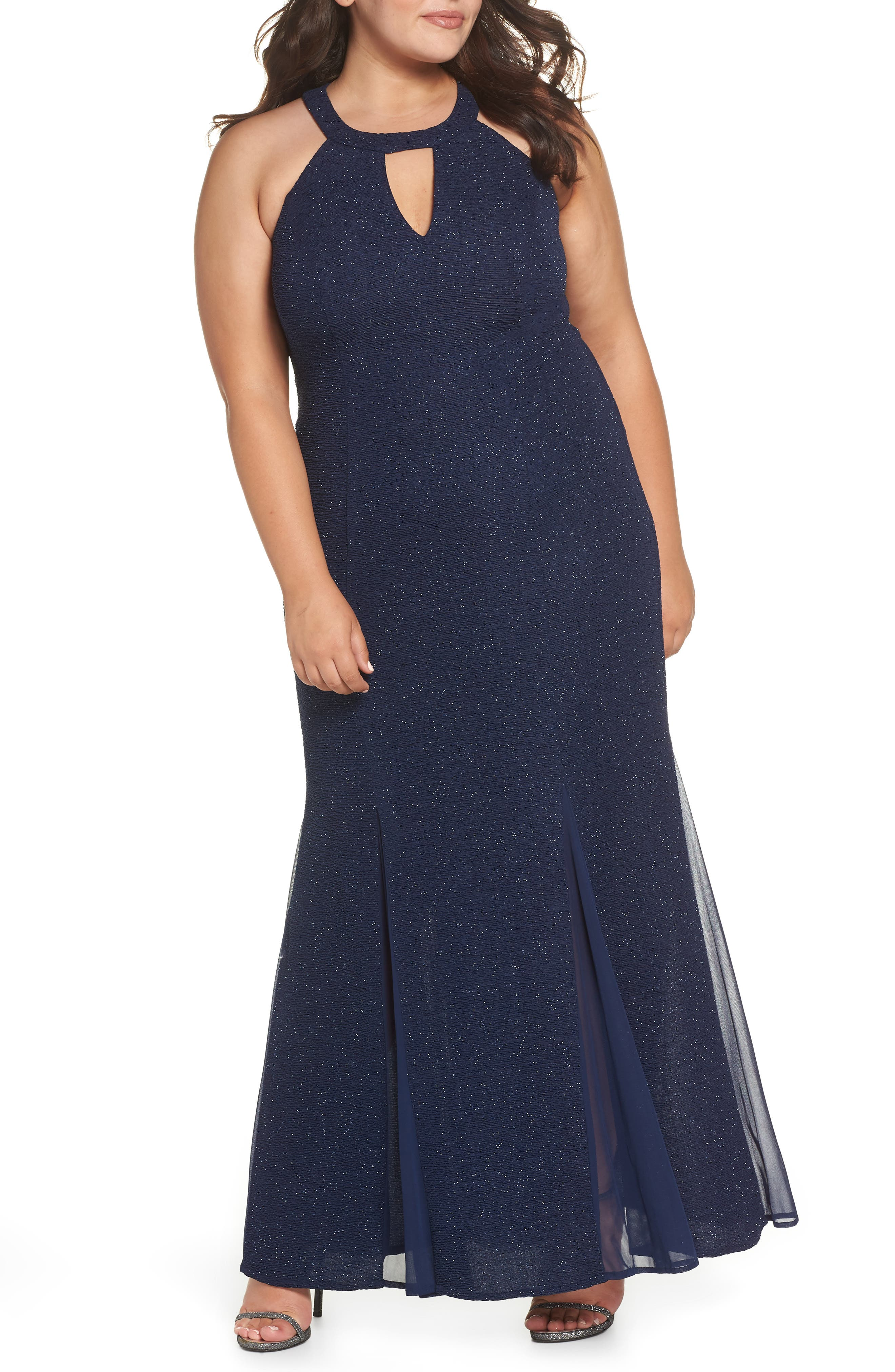 Keyhole Glitter Knit Trumpet Gown,                             Main thumbnail 1, color,                             Navy