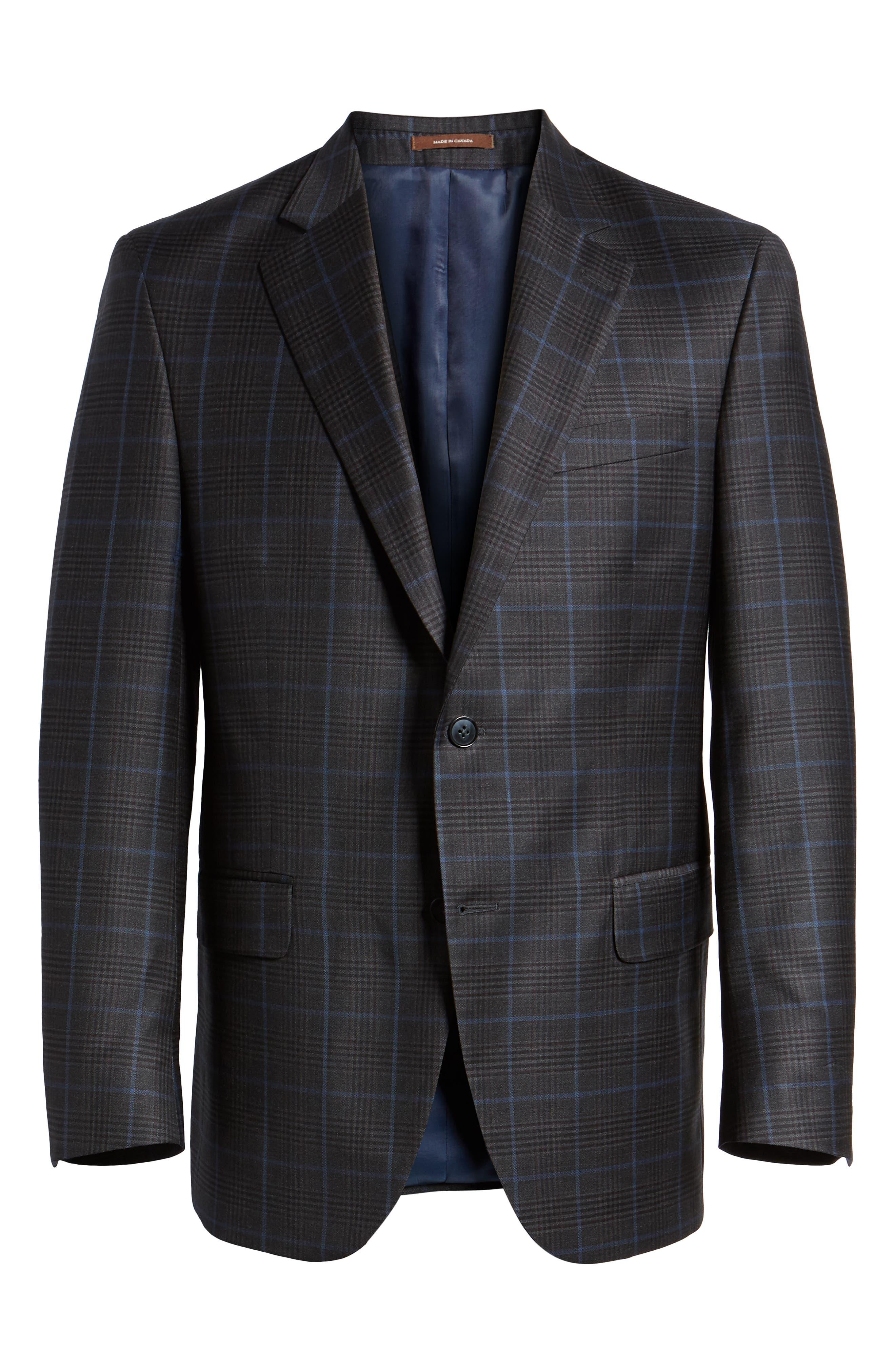 Hyperlight Classic Fit Plaid Wool Sport Coat,                             Alternate thumbnail 6, color,                             Grey