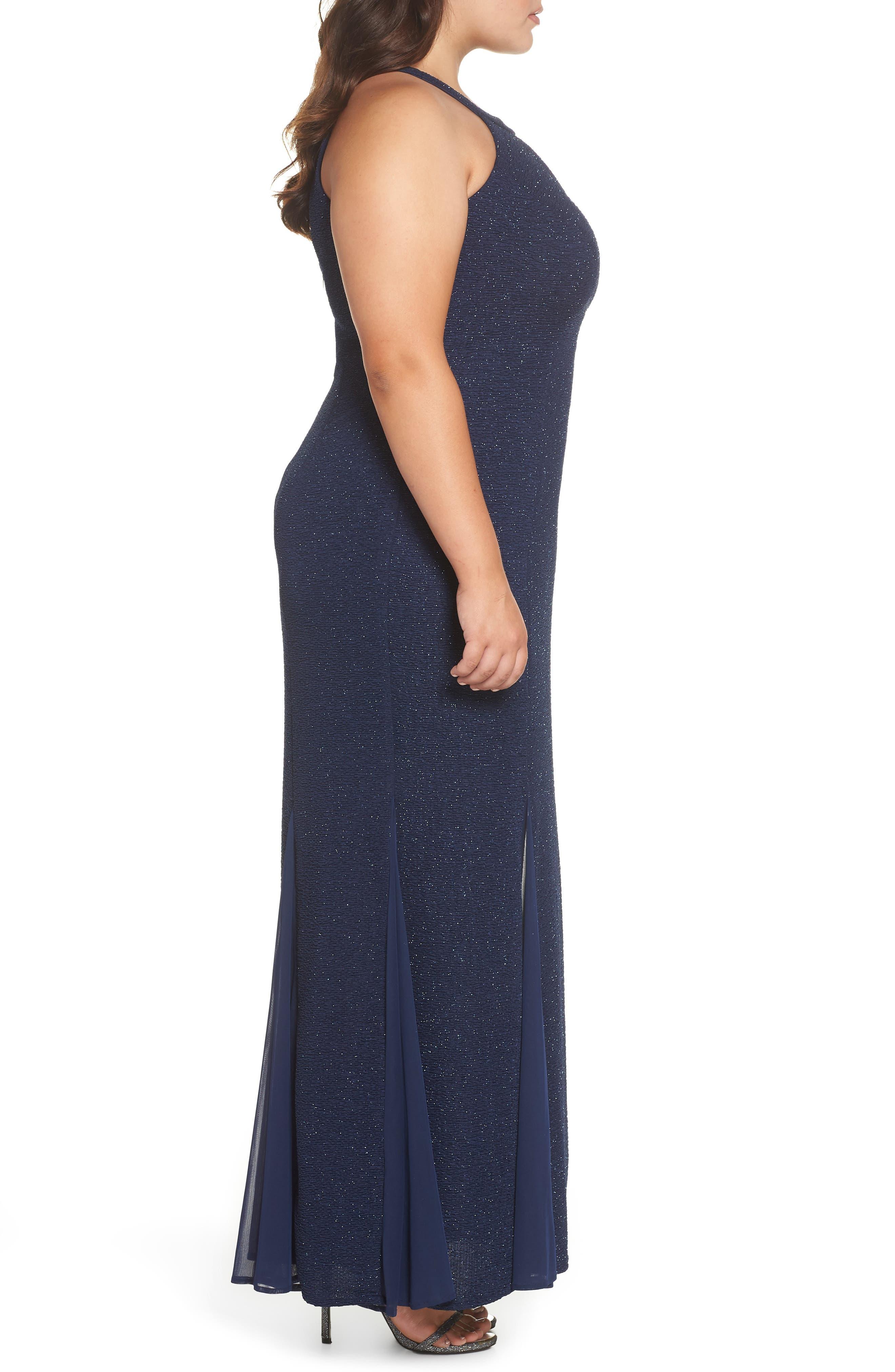 Keyhole Glitter Knit Trumpet Gown,                             Alternate thumbnail 3, color,                             Navy