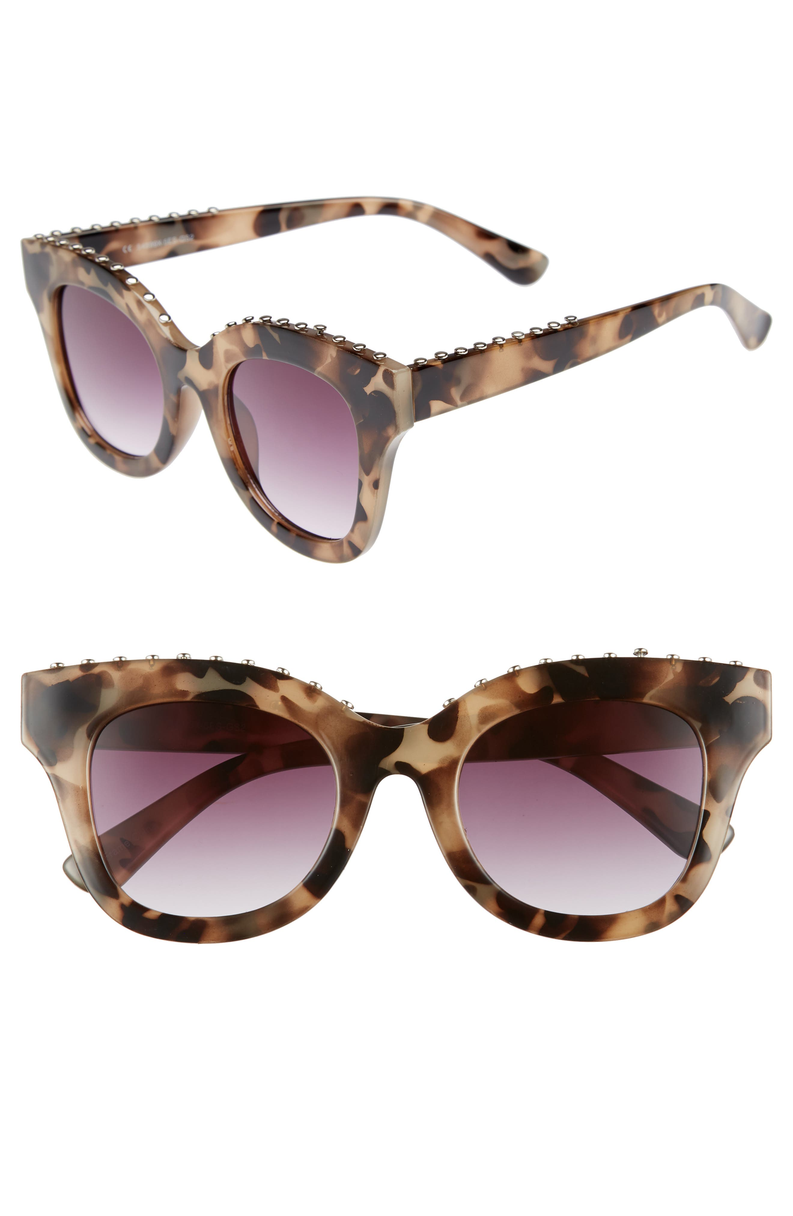 48mm Studded Sunglasses,                             Main thumbnail 1, color,                             Tort/ Silver