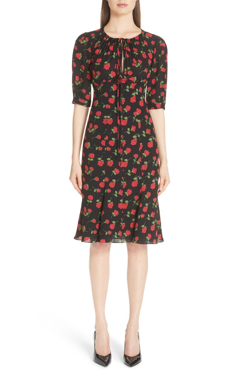 Rose Print Silk Georgette Dress