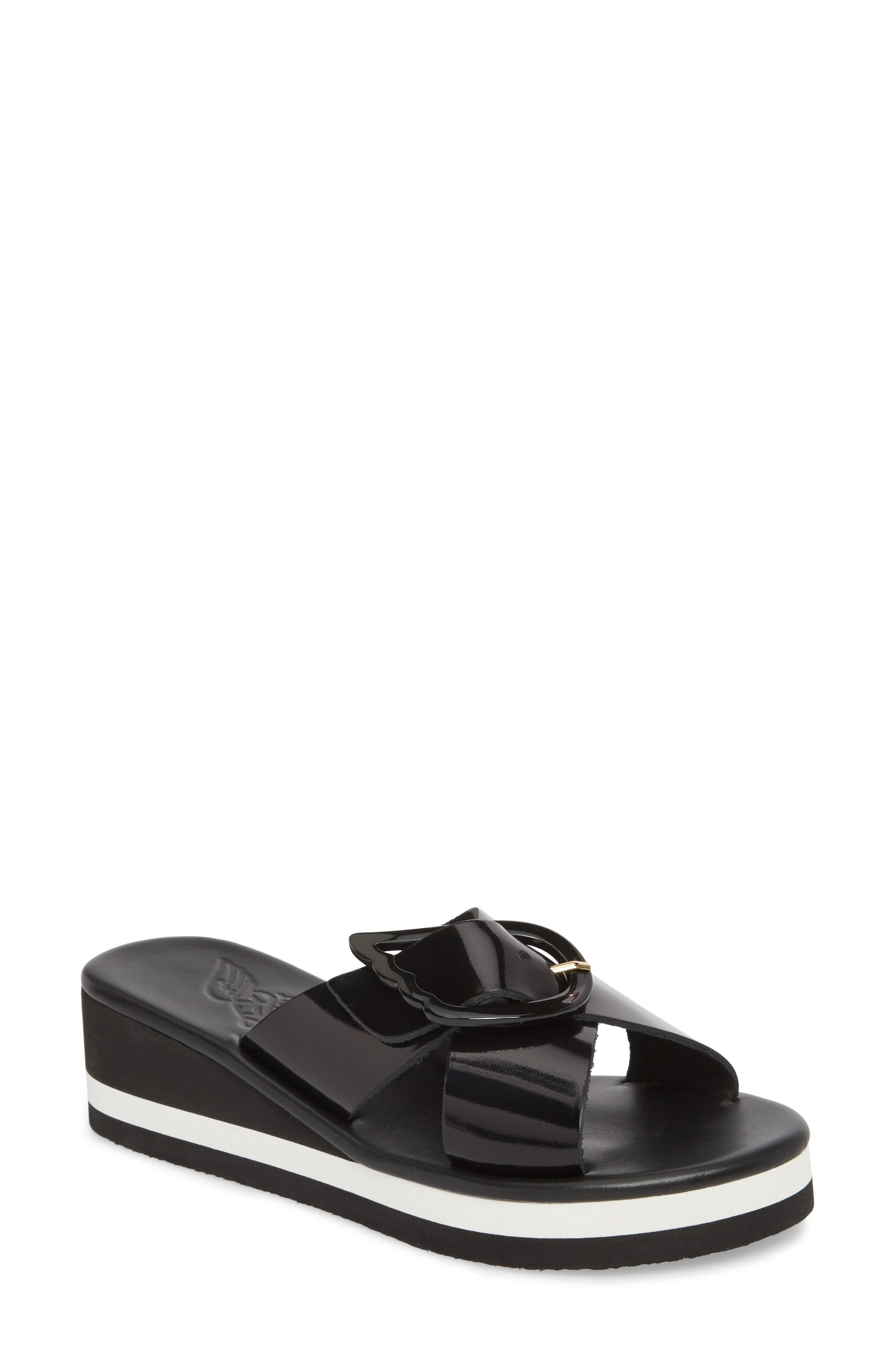 Thais Wedge Slide Sandal,                             Main thumbnail 1, color,                             Black