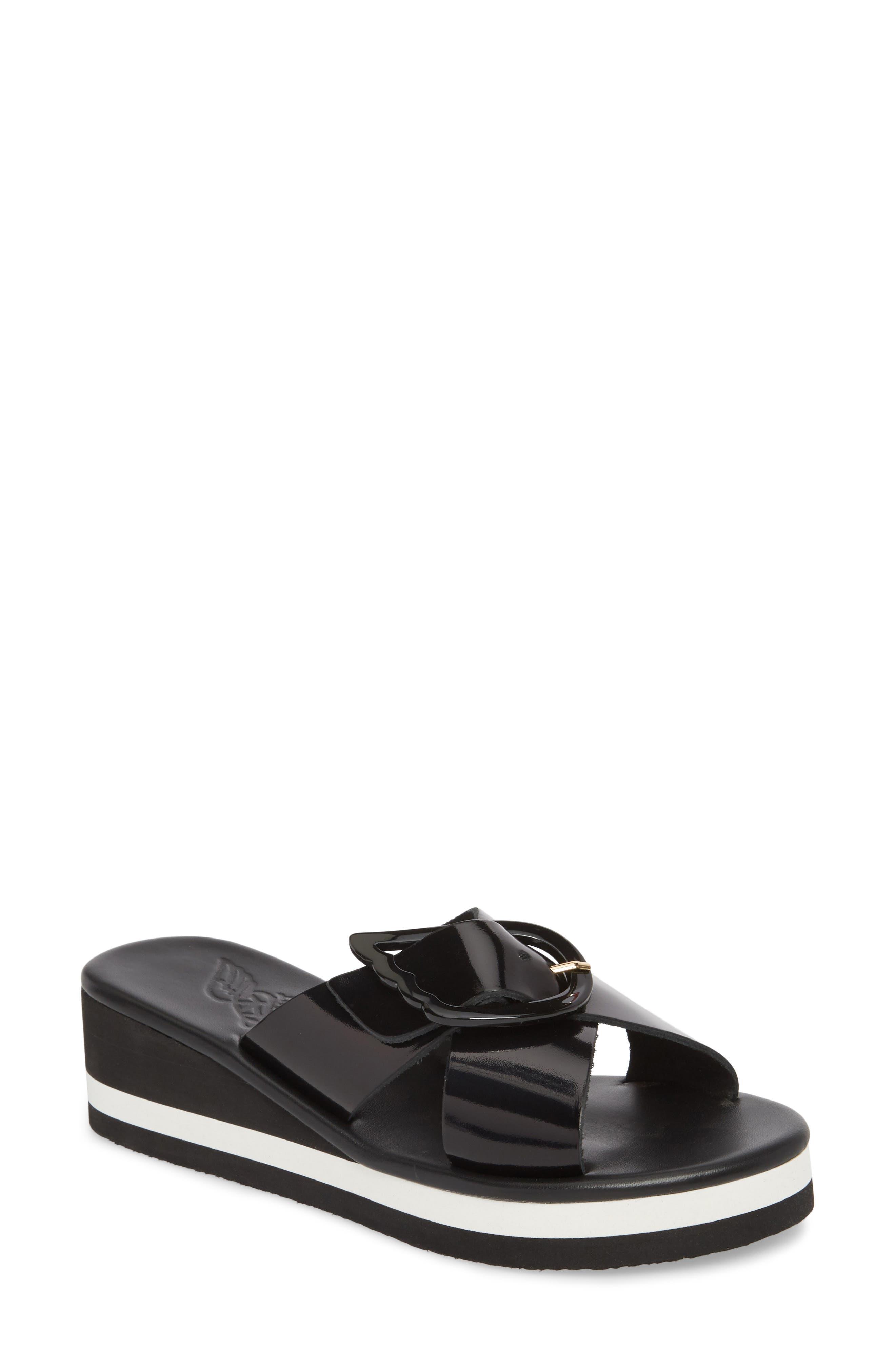 Thais Wedge Slide Sandal,                         Main,                         color, Black