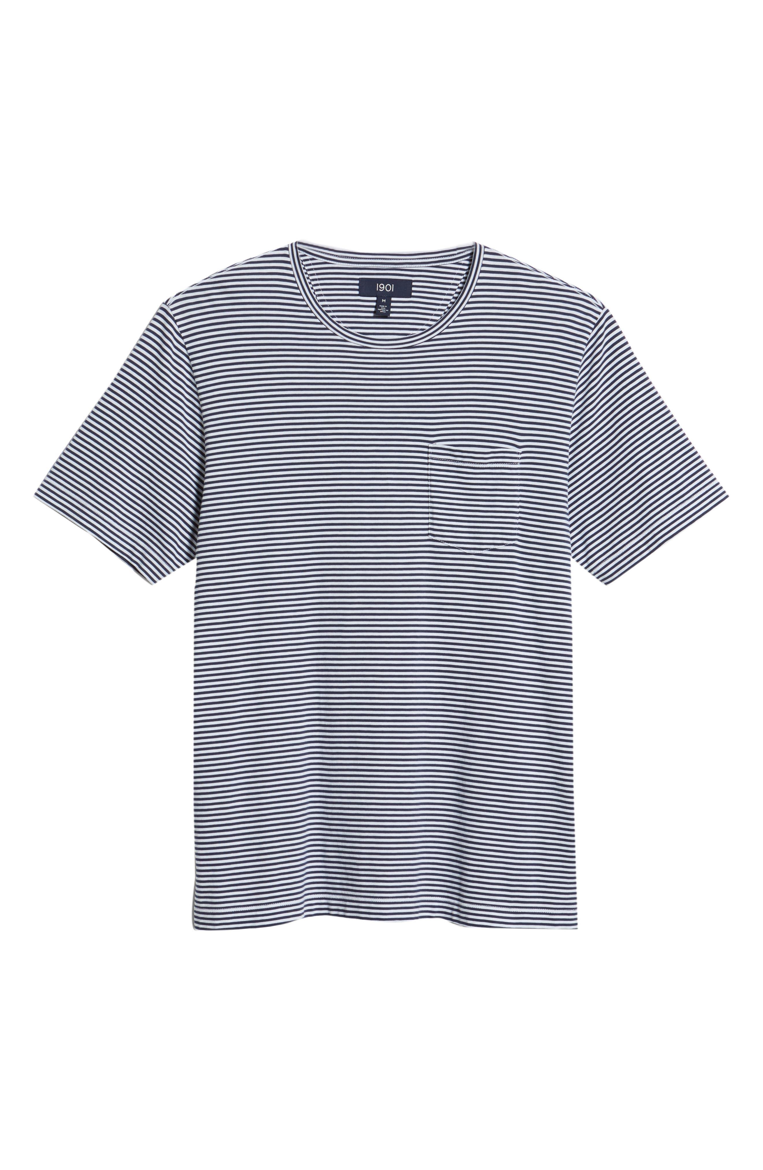 Stripe Brushed Pima Cotton T-Shirt,                             Alternate thumbnail 6, color,                             Navy Iris Mini Stripe