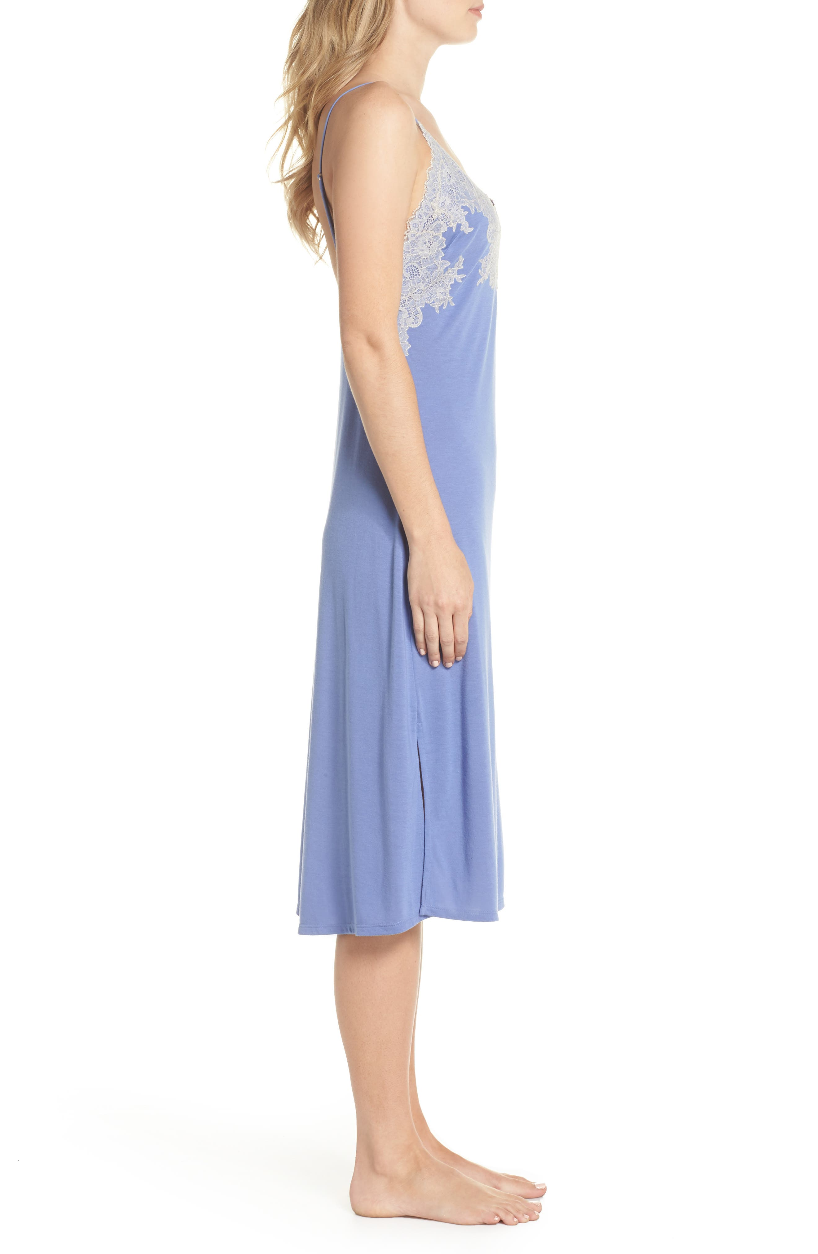 Luxe Shangri-La Nightgown,                             Alternate thumbnail 3, color,                             Wedgewood