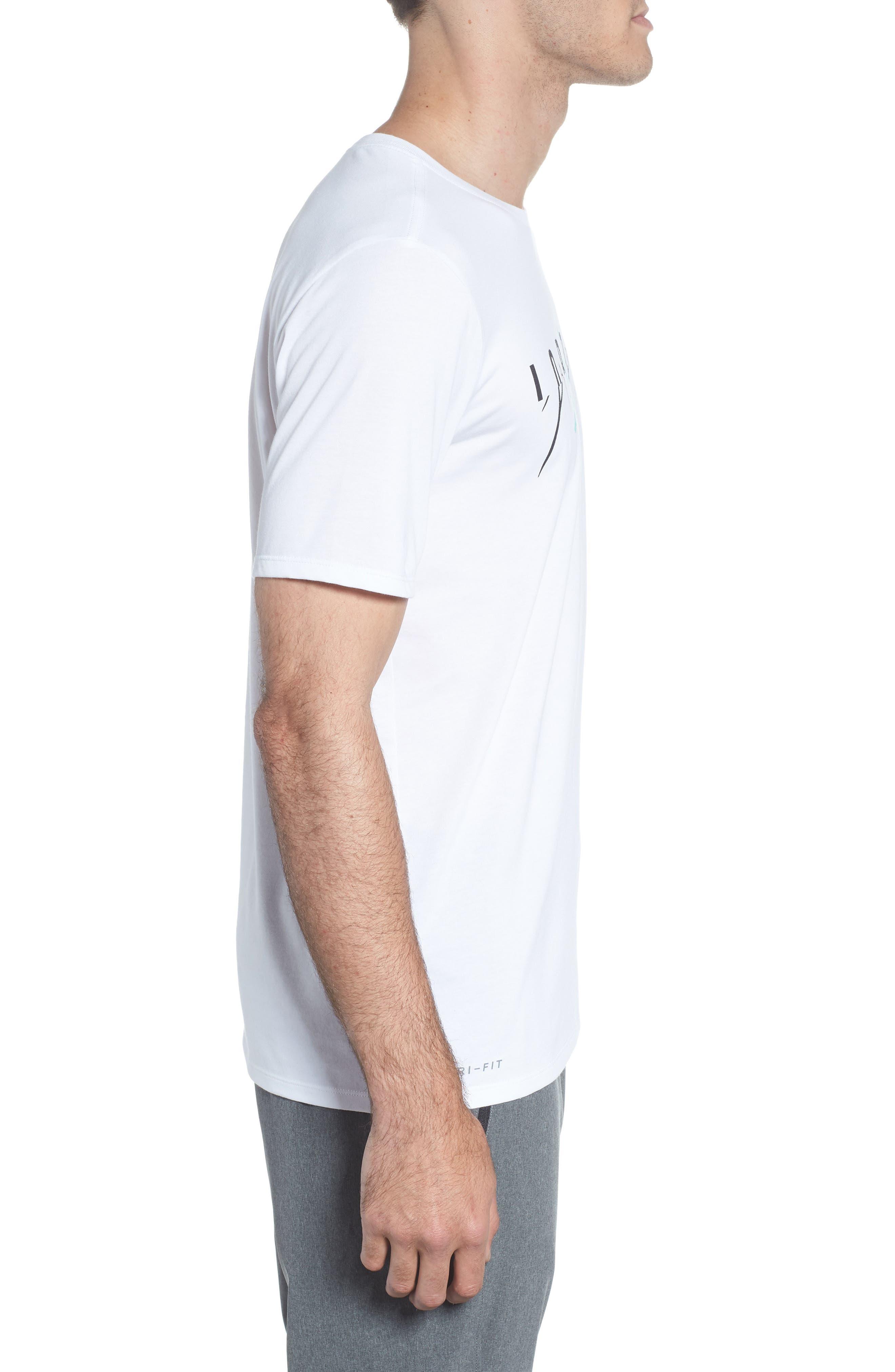 Flight Mash-Up T-Shirt,                             Alternate thumbnail 3, color,                             White/ Emerald Rise