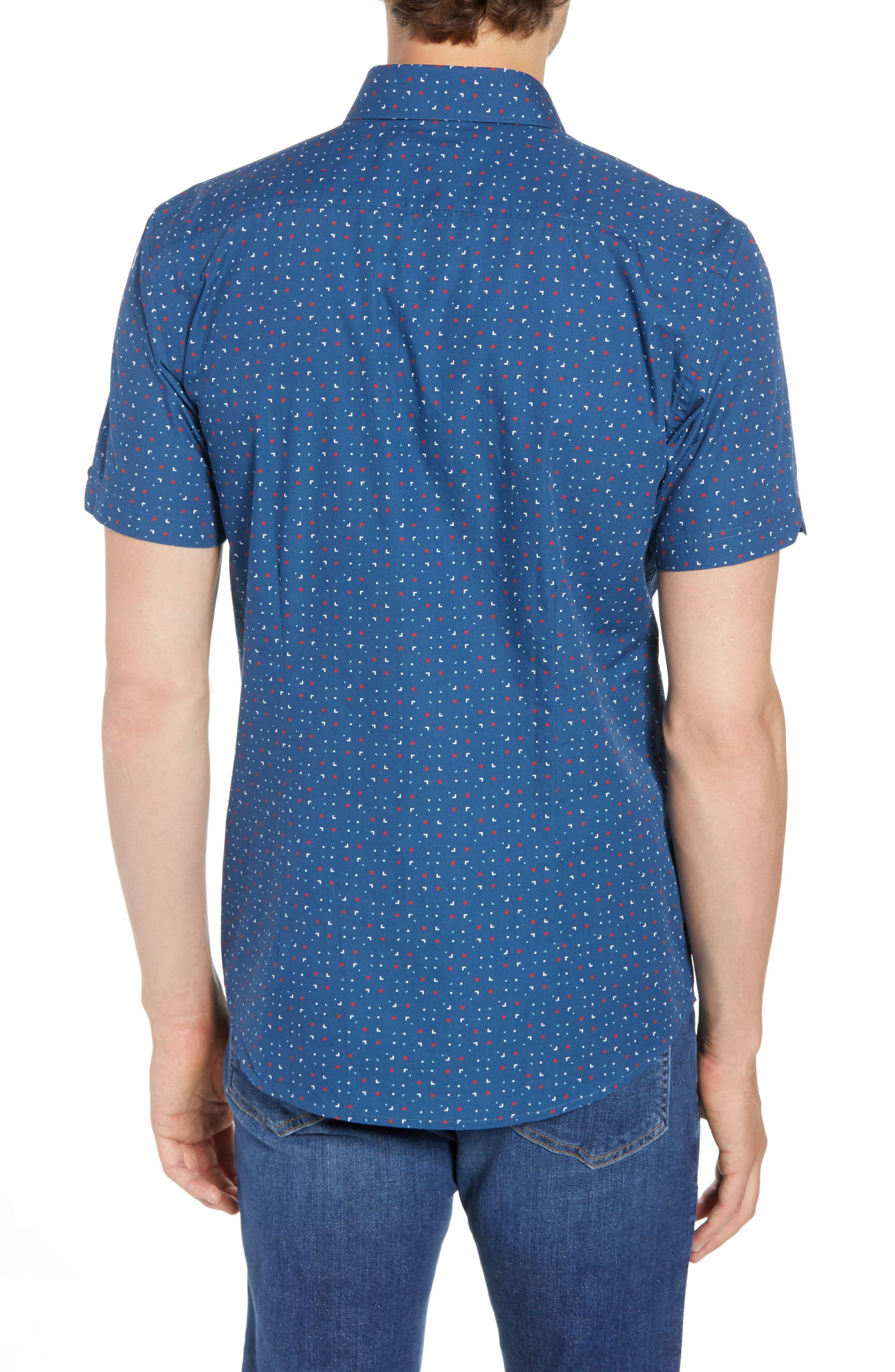 Scattered Geo Woven Shirt,                             Alternate thumbnail 3, color,                             Blue