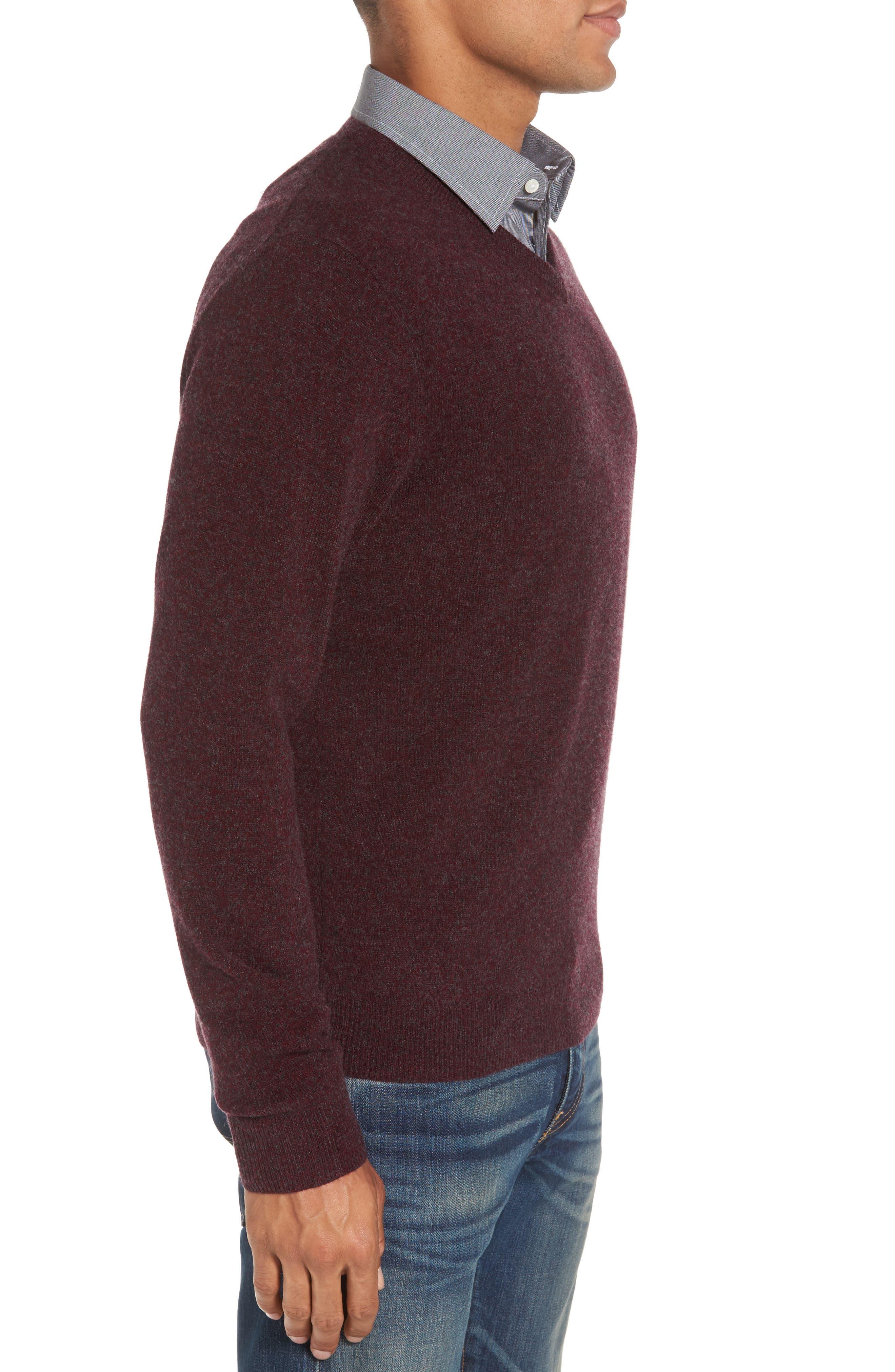 Cashmere V-Neck Sweater,                             Alternate thumbnail 3, color,                             Burgundy Fudge