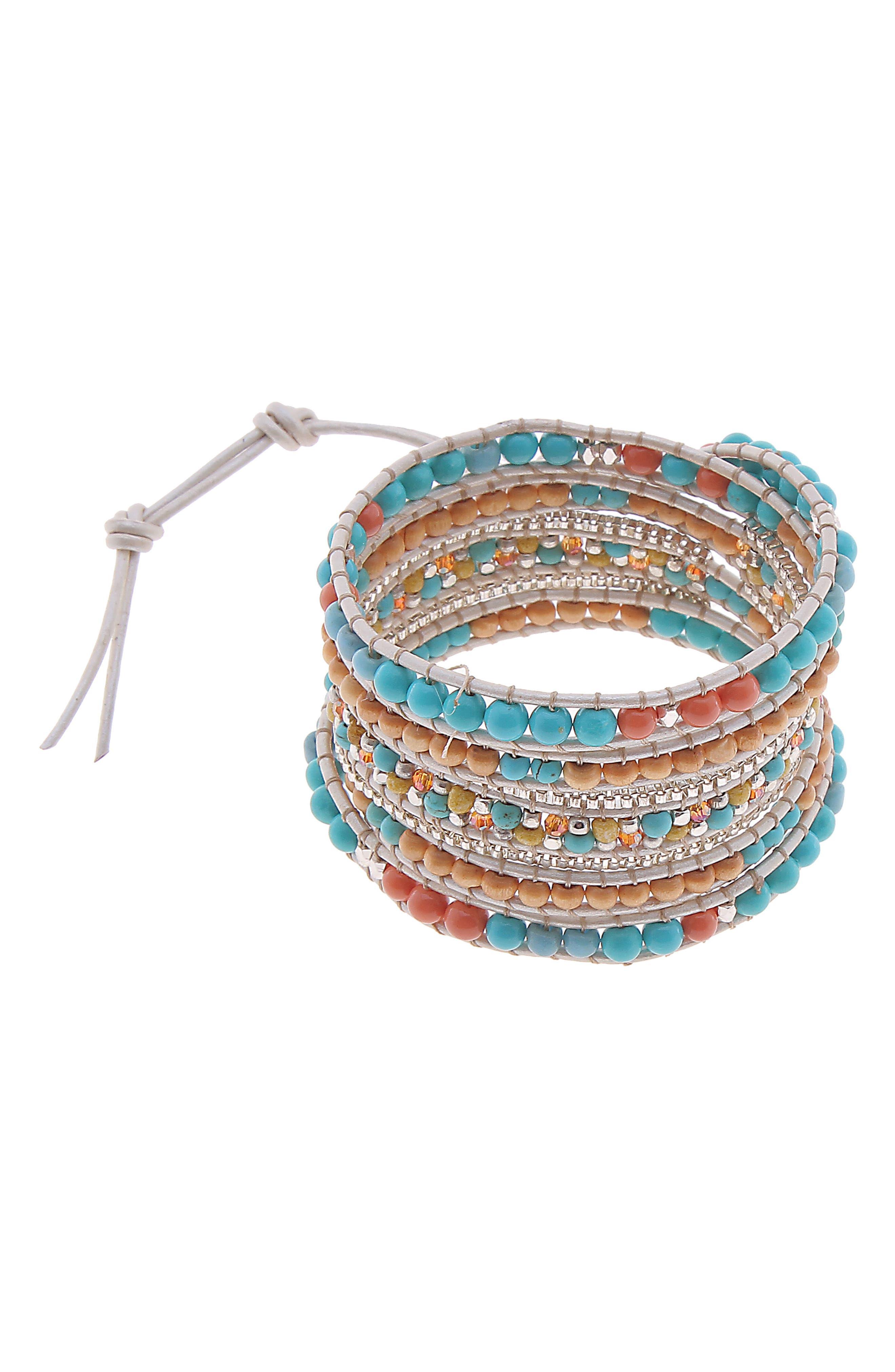 All Stone Wrap Bracelet,                         Main,                         color, Turquoise
