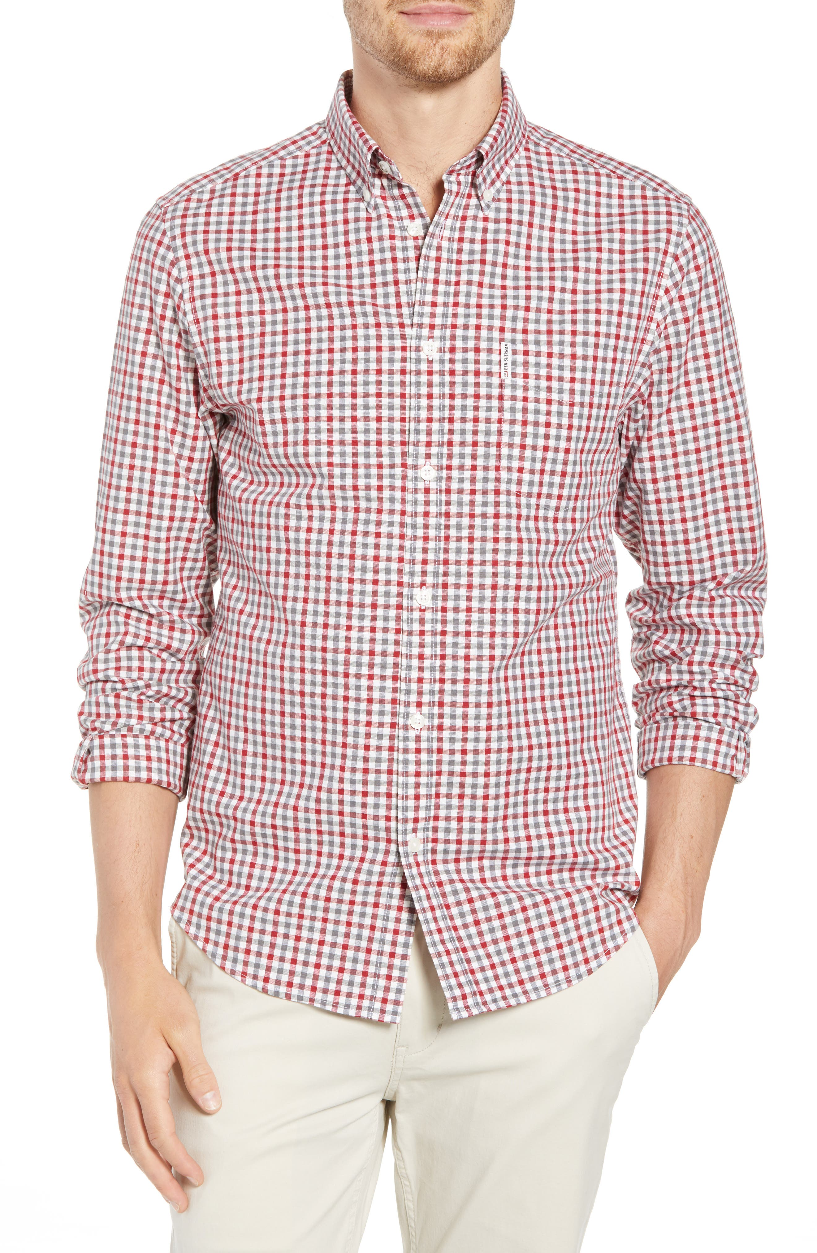 Mod Fit Gingham Woven Shirt,                         Main,                         color, Off White