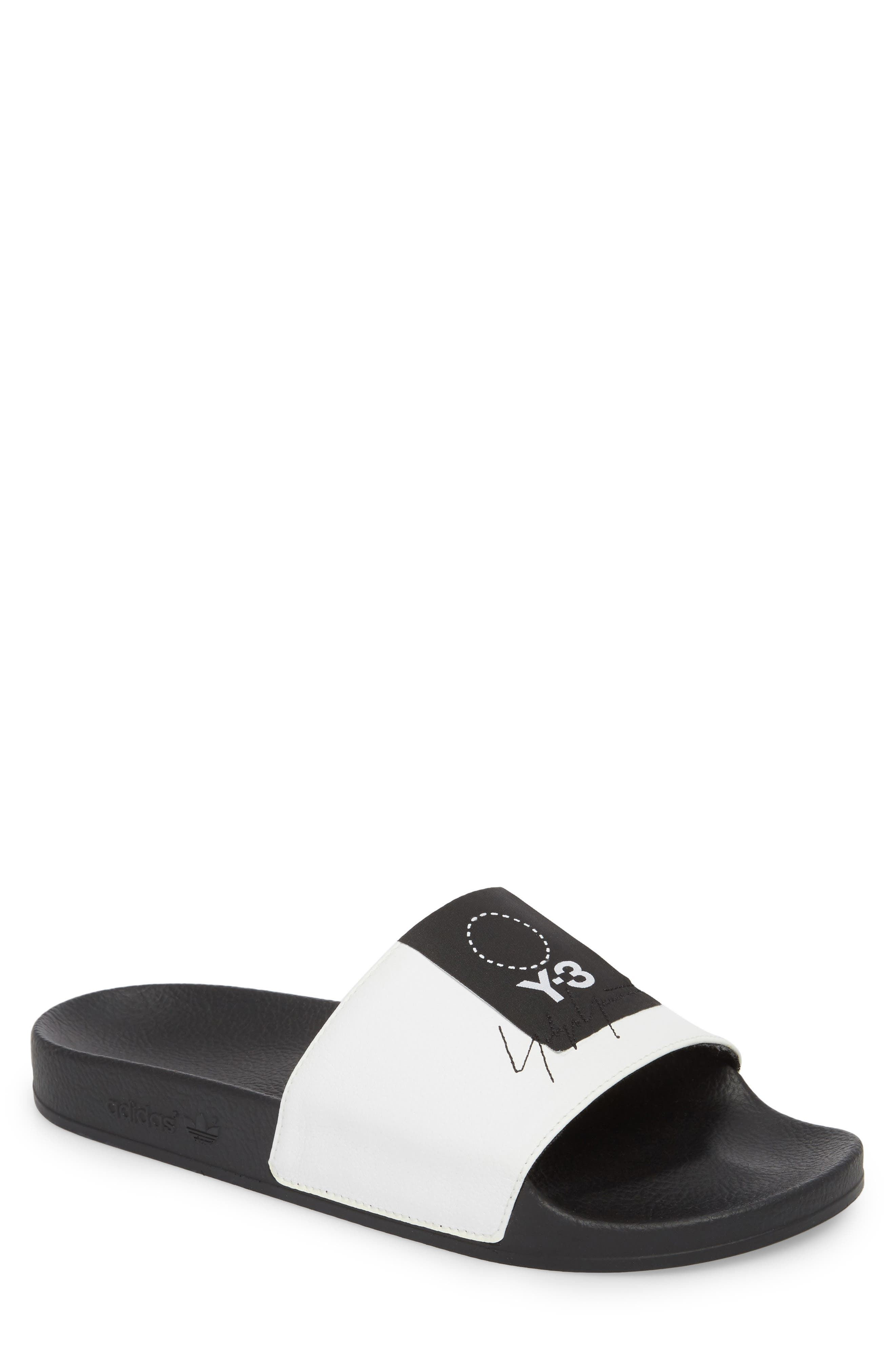 Adilette Slide Sandal,                         Main,                         color, White/ Black