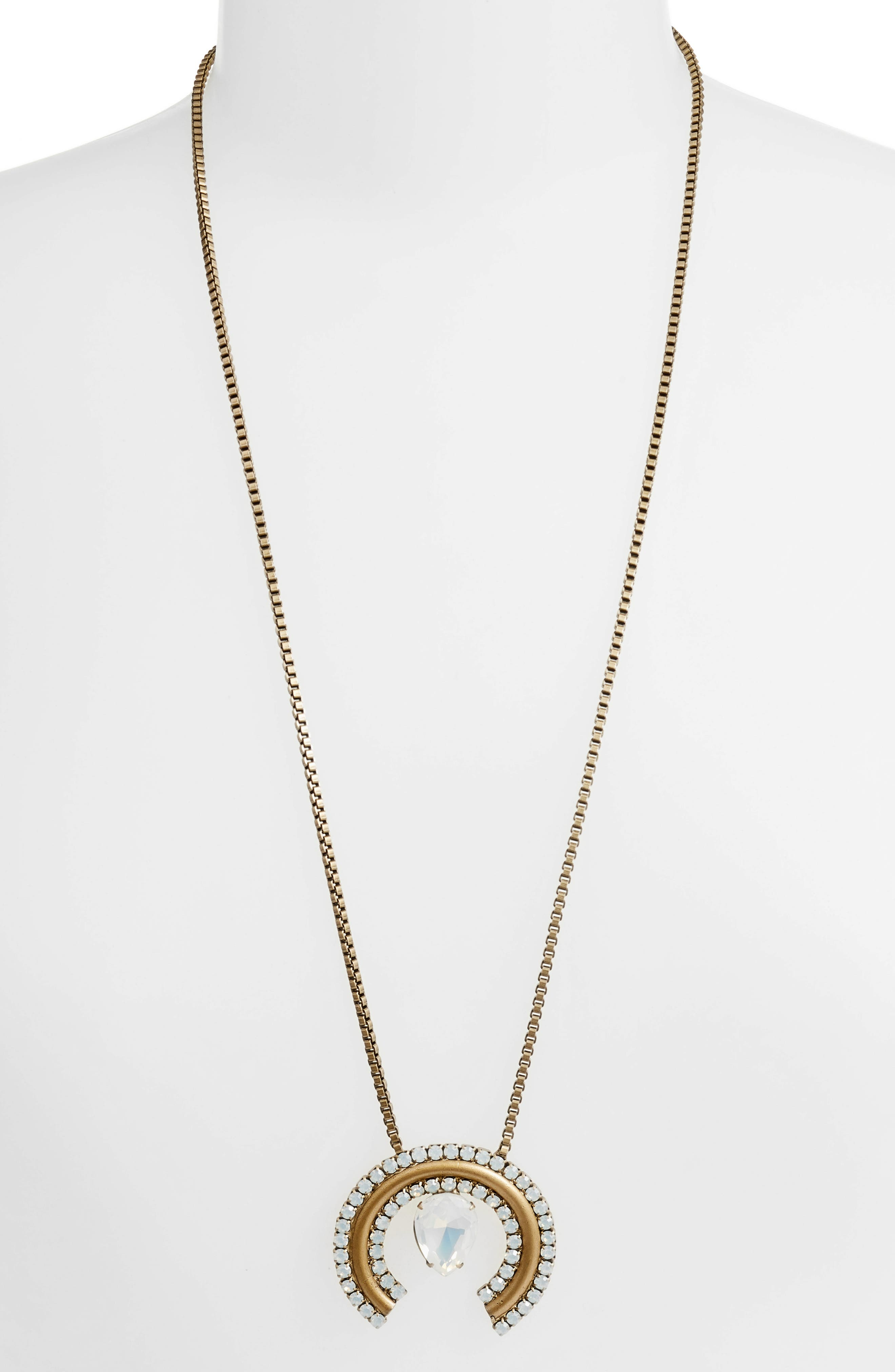 Corinne Box Chain Necklace,                         Main,                         color, White Opal/ Gold
