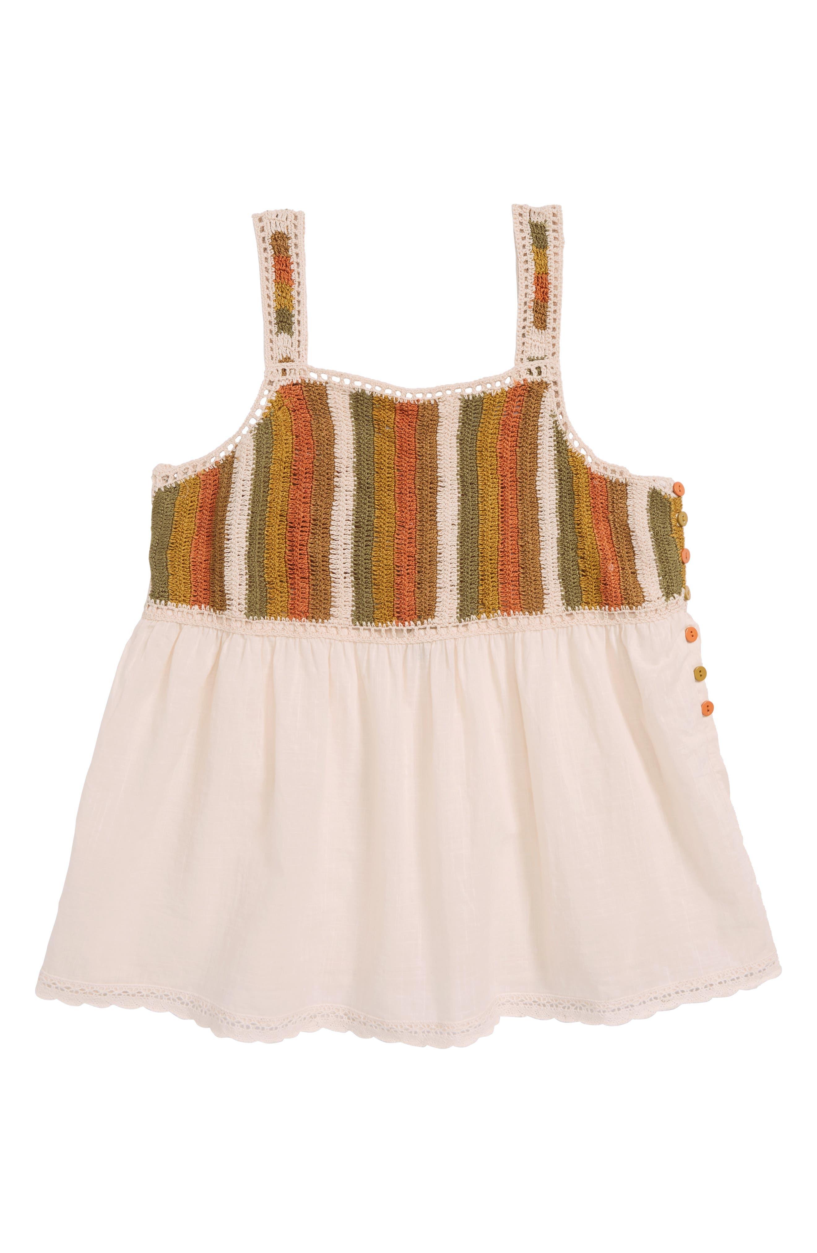 Presley Crochet Tank,                         Main,                         color, Peach