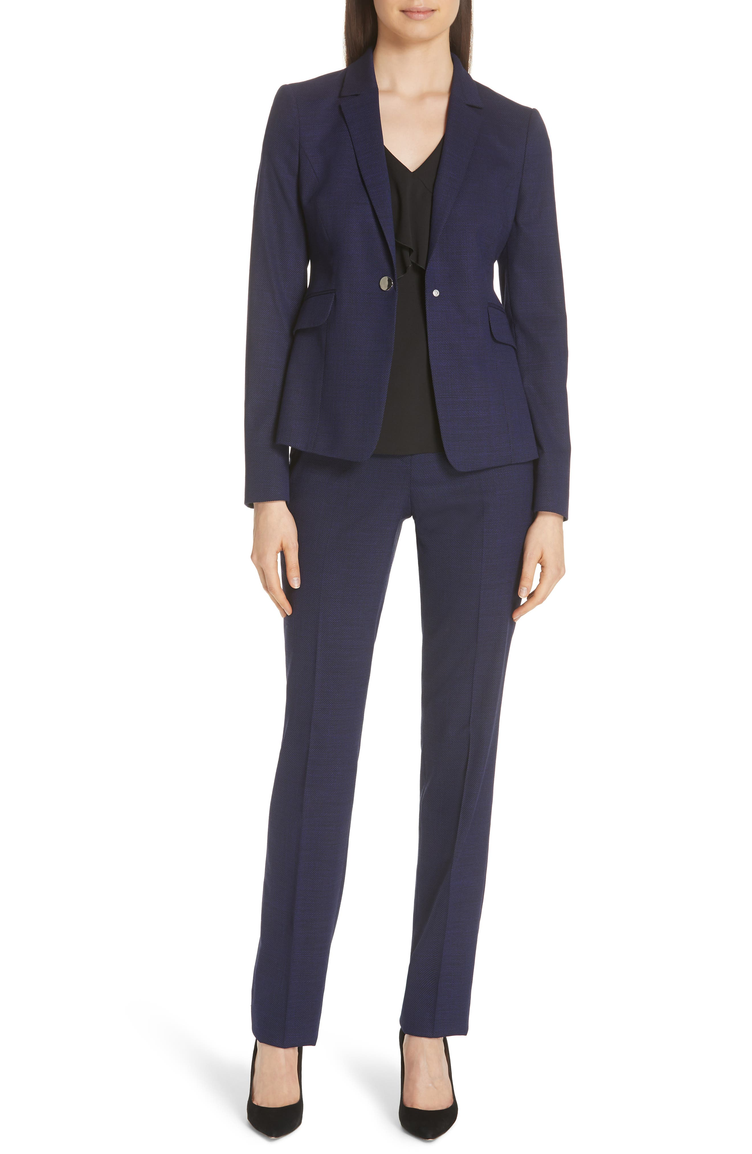 Jibalena Mini Glencheck Suit Jacket,                             Alternate thumbnail 6, color,                             Deep Lilac Fantasy