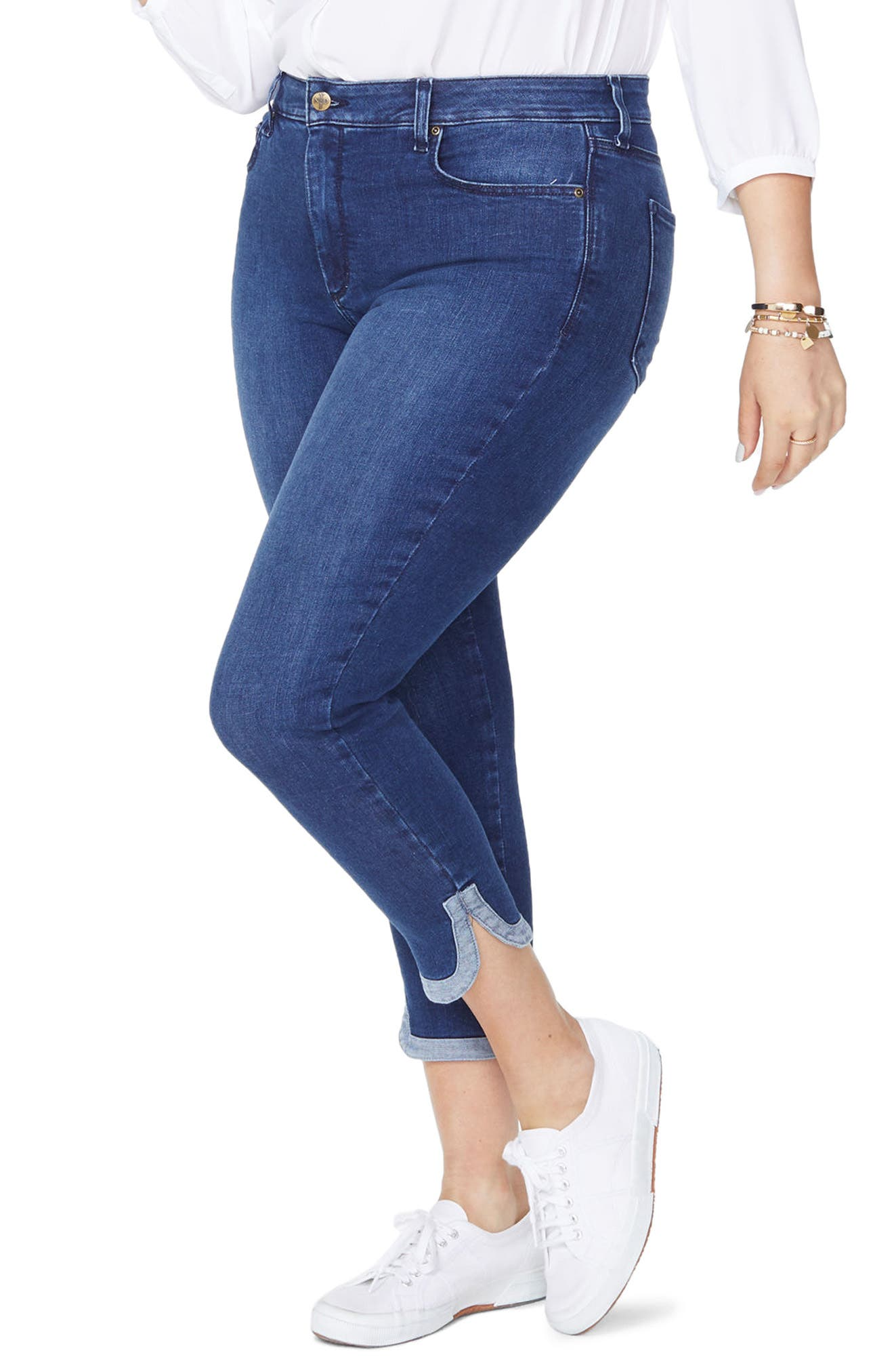 Ami Dolphin Hem Stretch Ankle Skinny Jeans,                             Main thumbnail 1, color,                             Cooper