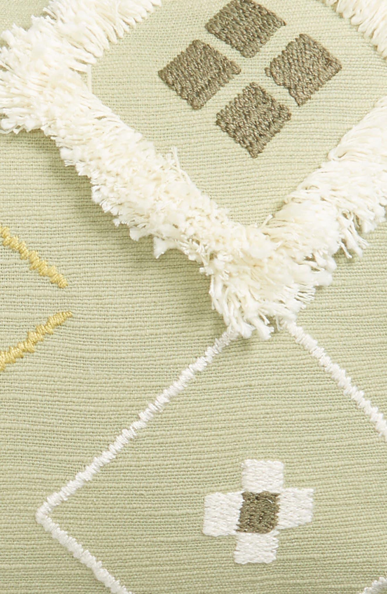Diamond Puff Cotton Accent Pillow,                             Alternate thumbnail 3, color,                             Green