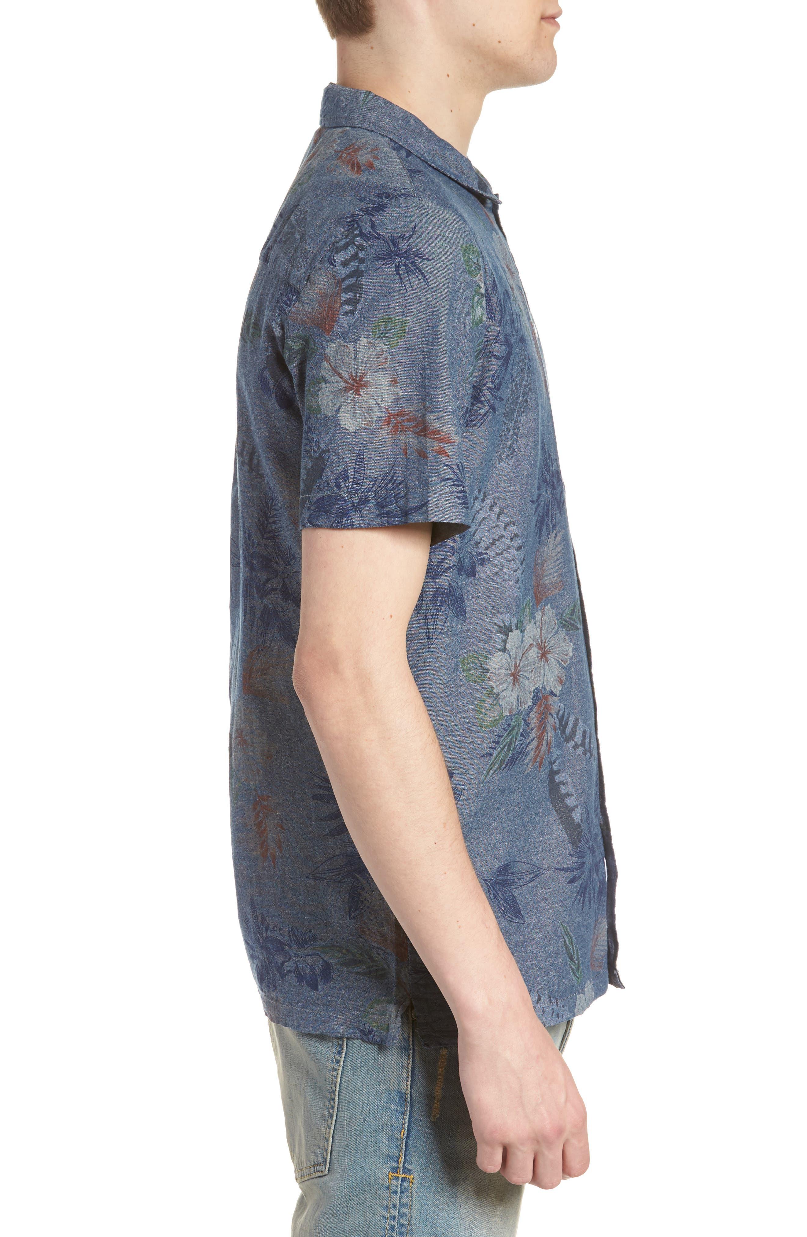 Floral Sketch Short Sleeve Sport Shirt,                             Alternate thumbnail 4, color,                             Indigo