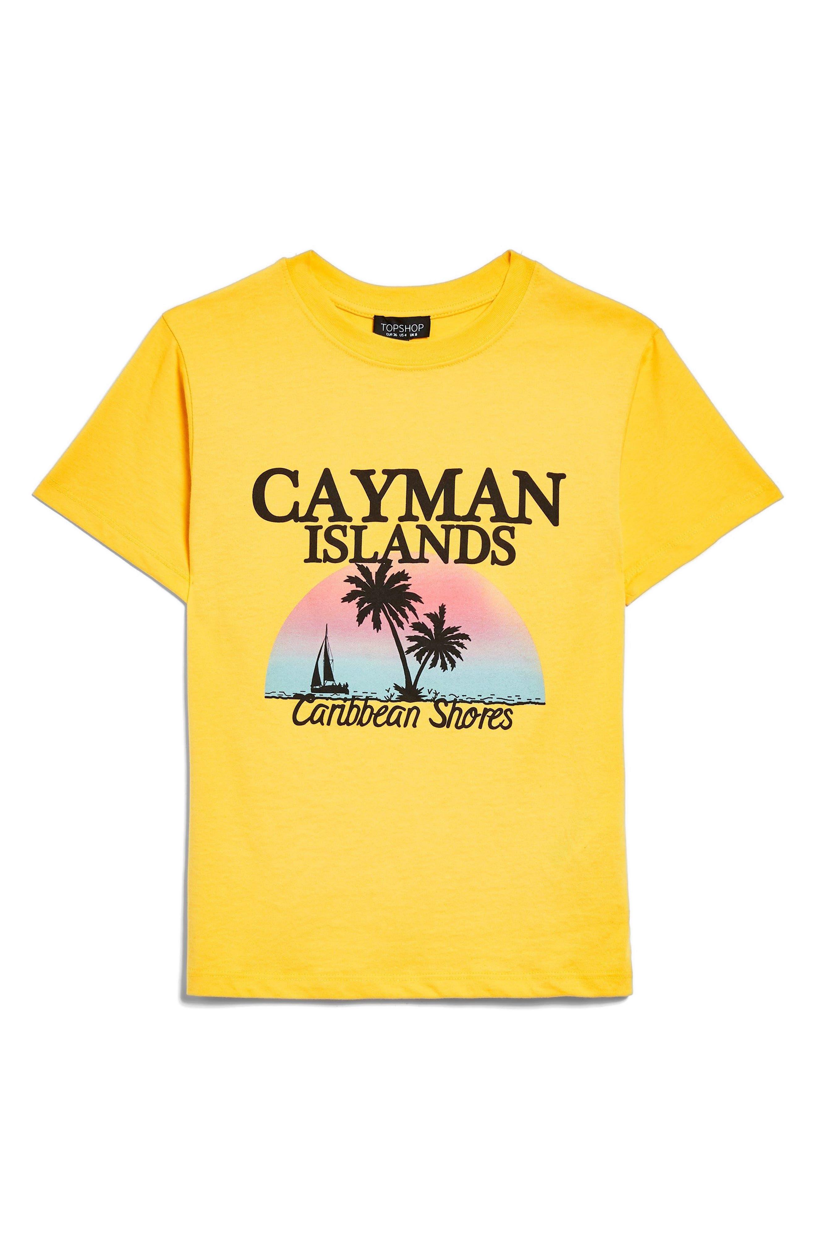 Cayman Island Print T-Shirt,                             Alternate thumbnail 4, color,                             Yellow Multi