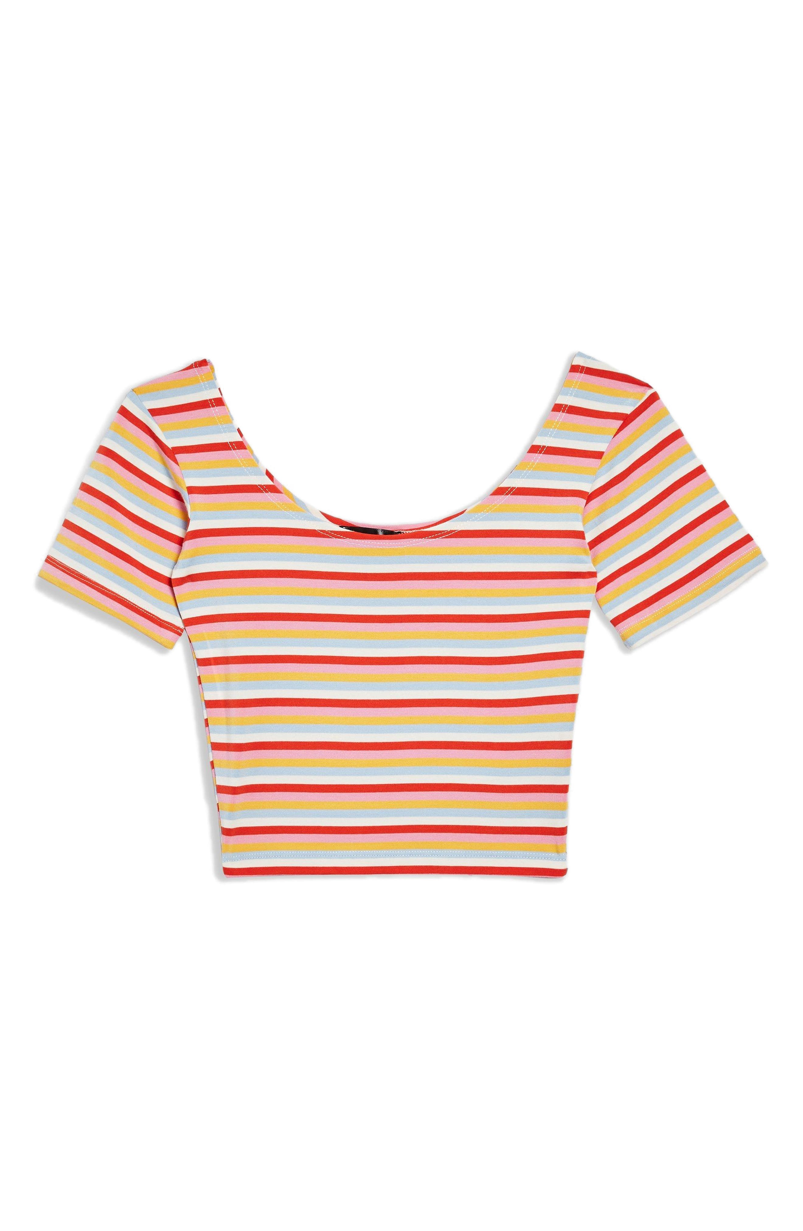 Stripe Crop Top,                             Alternate thumbnail 4, color,                             Red Mutli