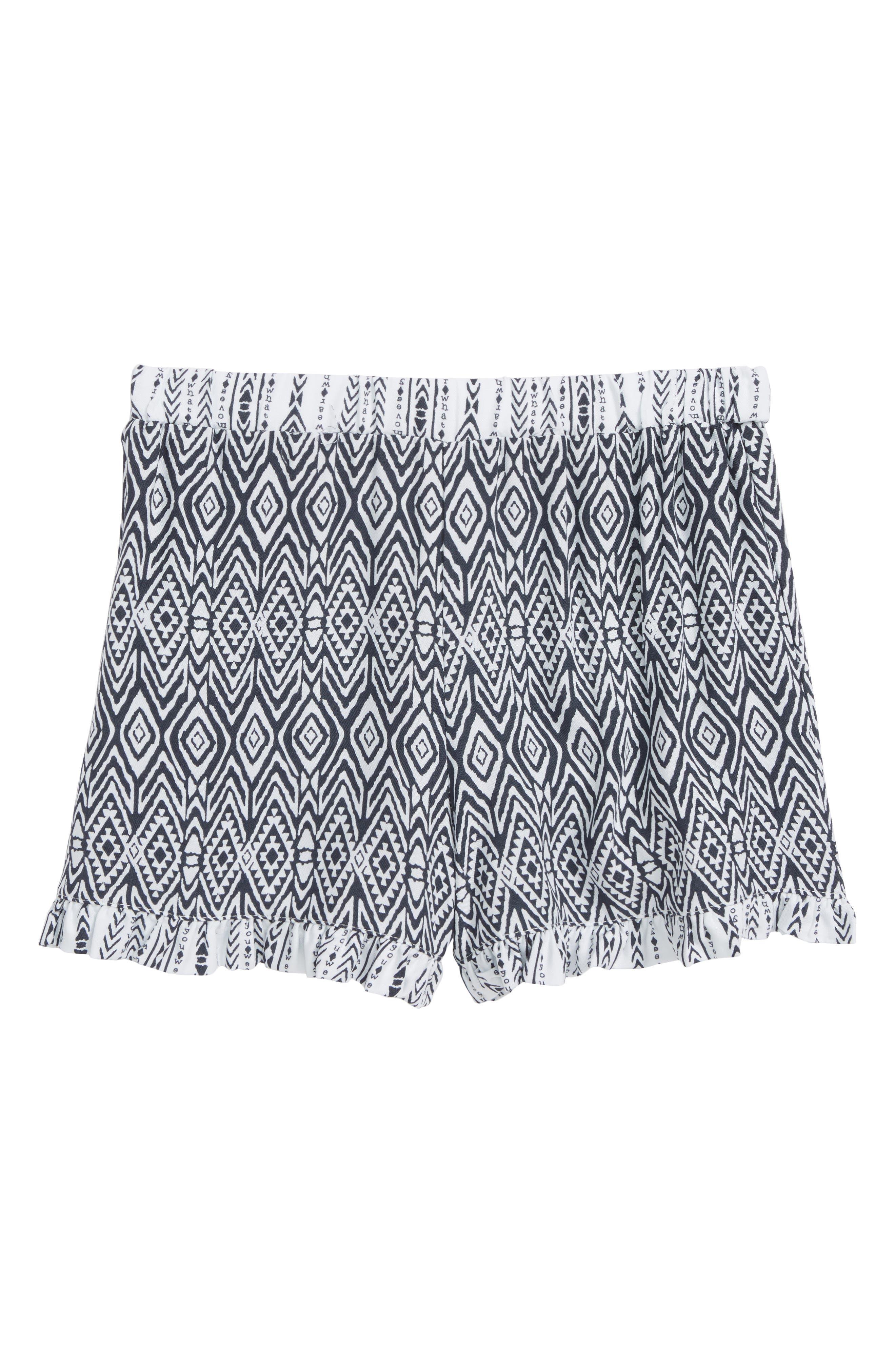 Tribal Print Shorts,                         Main,                         color, Navy/ White