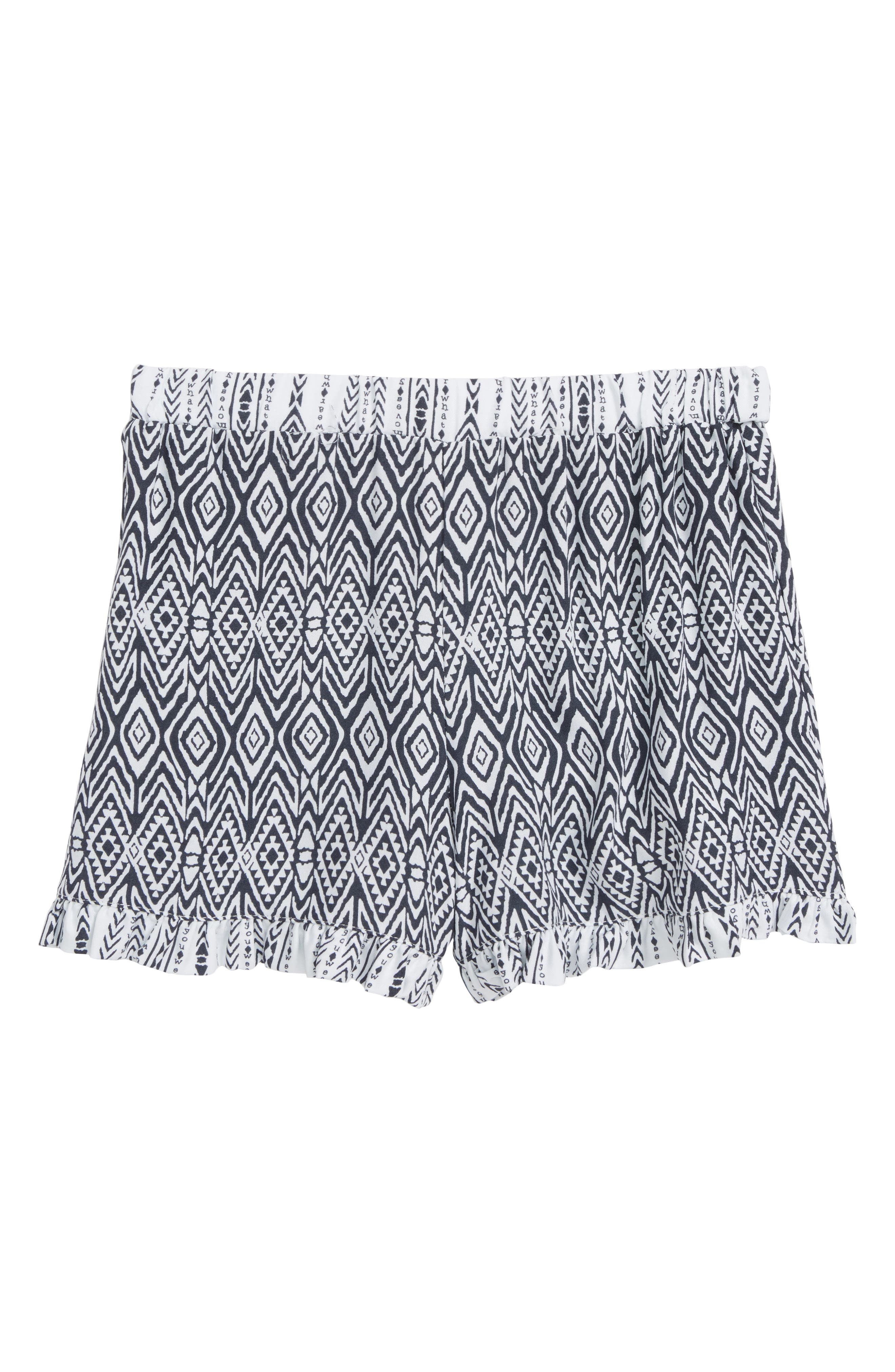 Tribal Print Shorts,                         Main,                         color, Navy/ White
