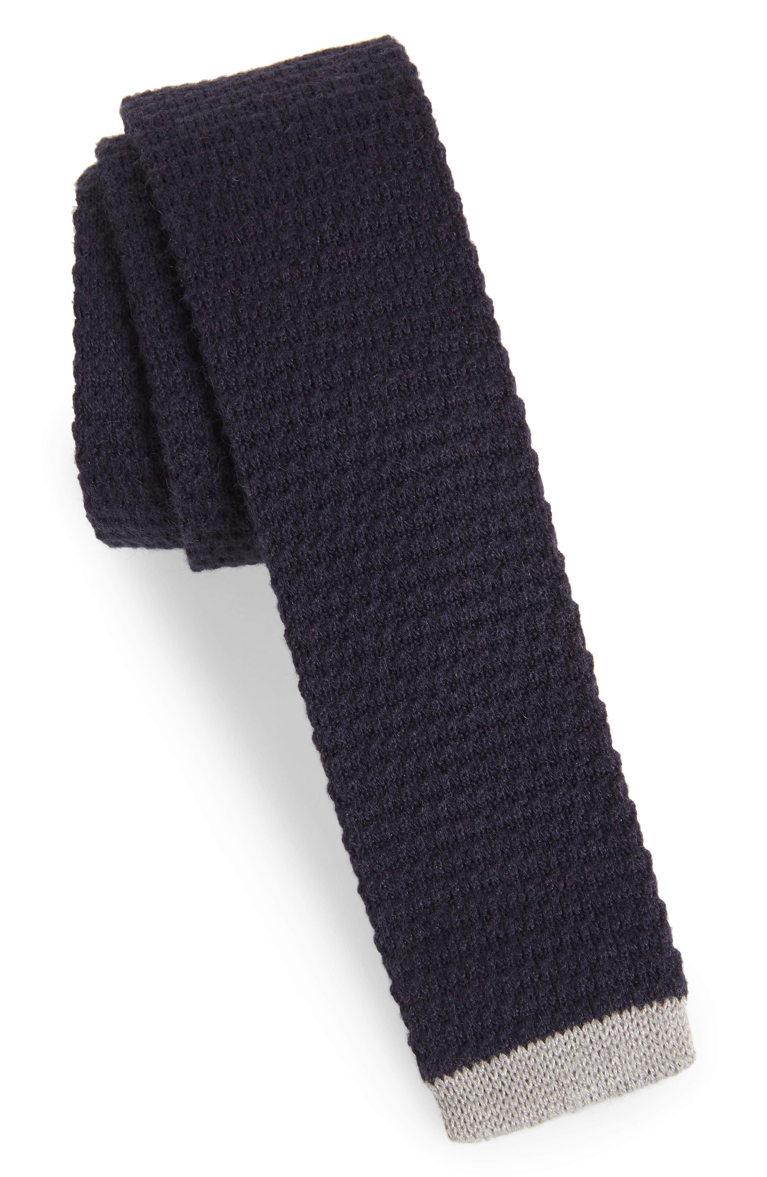 Belvin Knit Skinny Tie,                             Main thumbnail 1, color,                             Navy