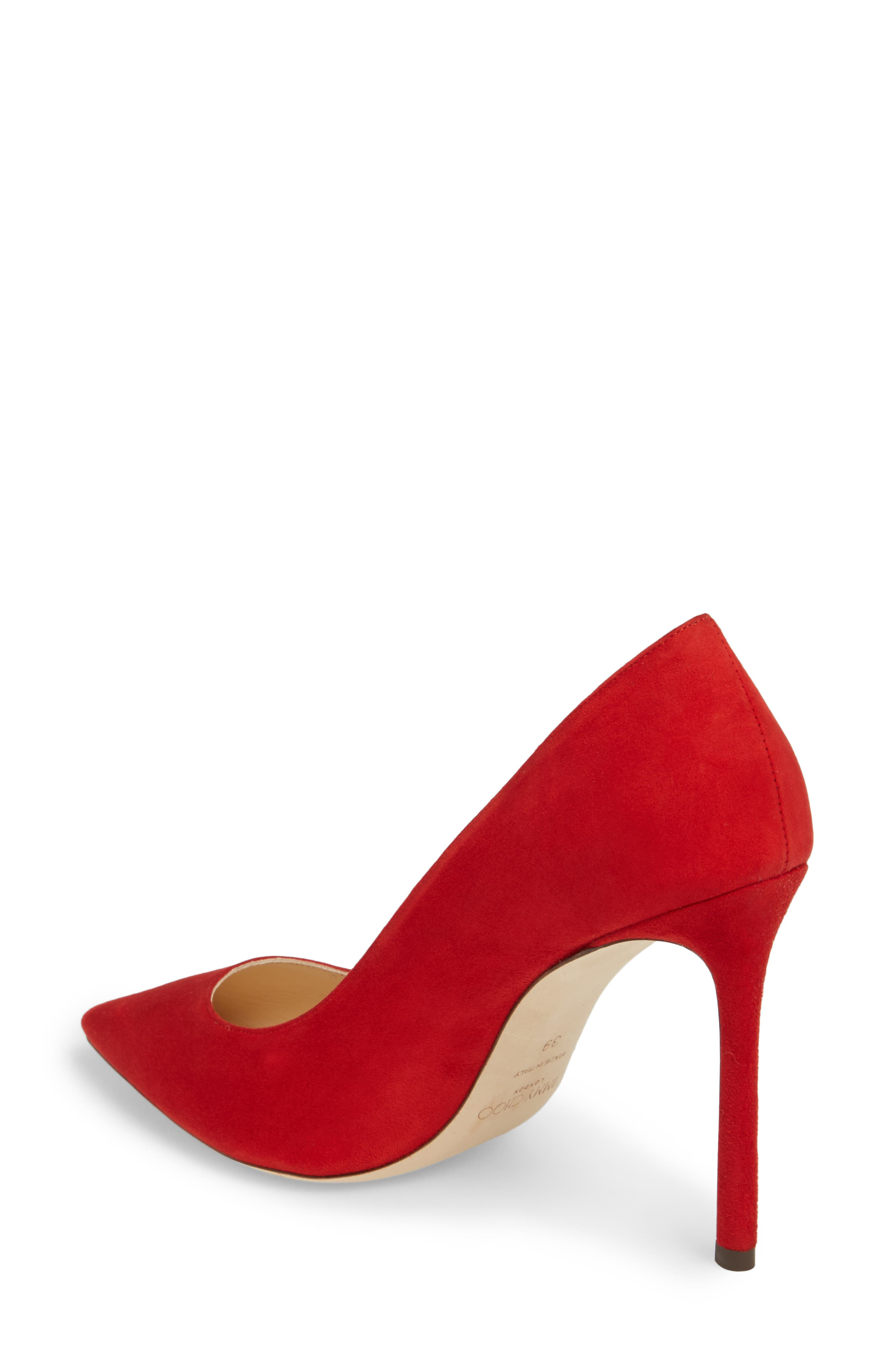 'Romy' Pointy Toe Pump,                             Alternate thumbnail 2, color,                             Red Suede