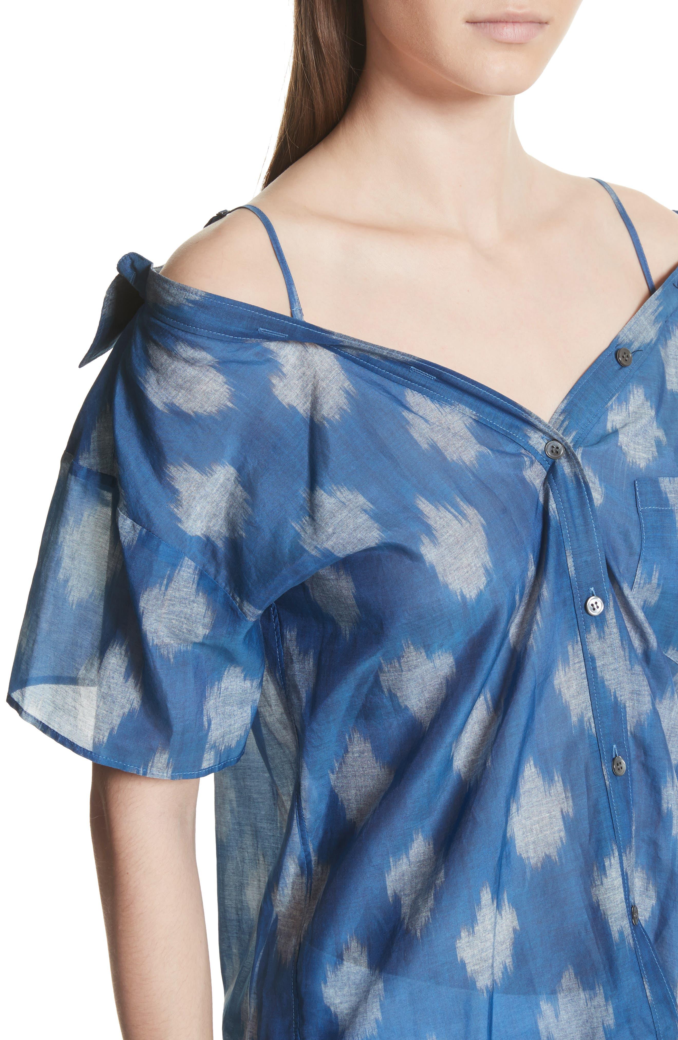 Tamalee Ikat Spot Blouse,                             Alternate thumbnail 4, color,                             White/ Blue