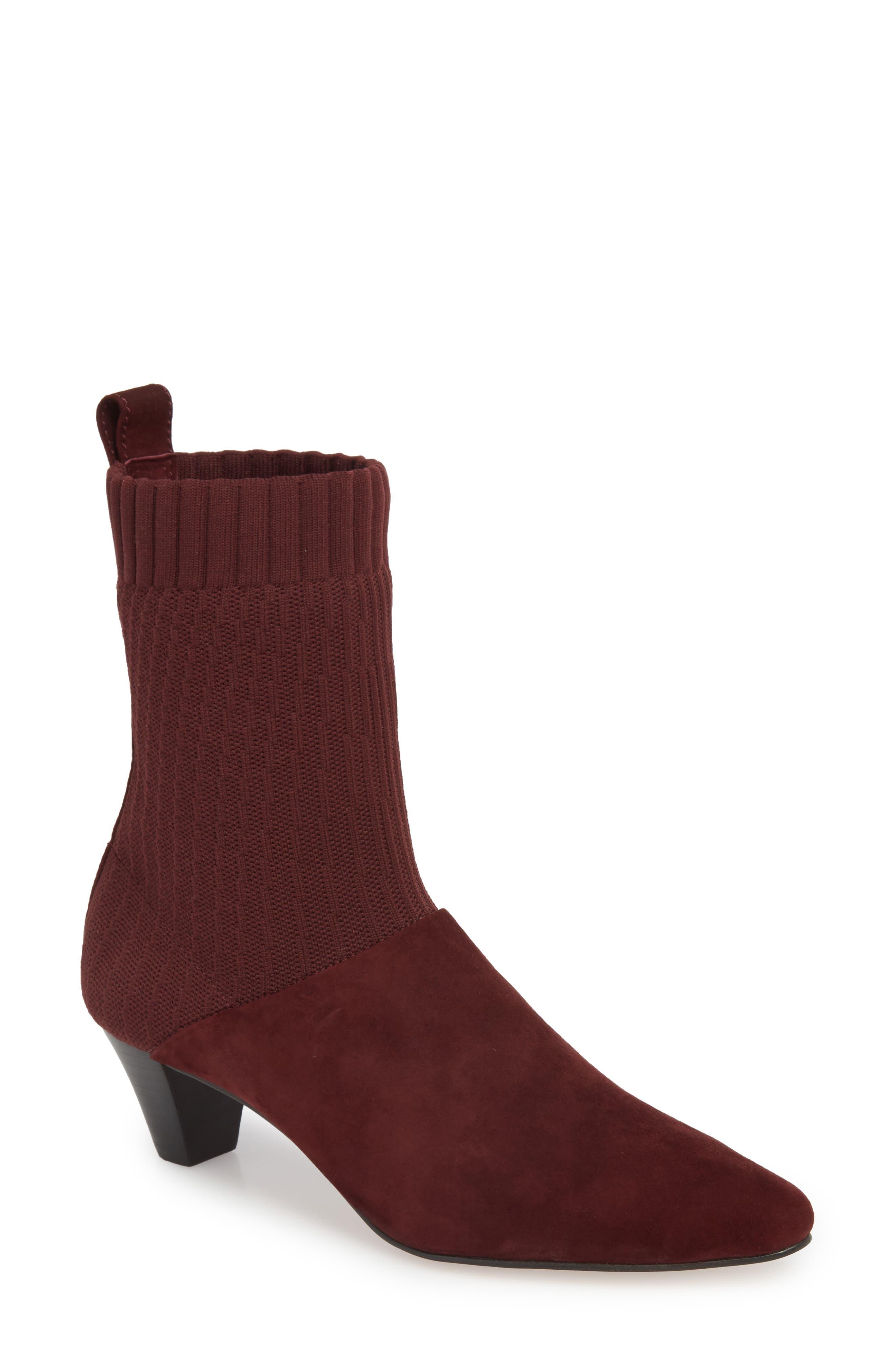 Nuria Sock Bootie,                         Main,                         color, Deep Plum Suede