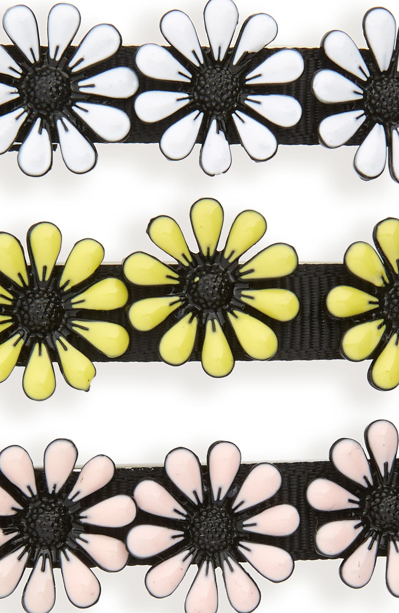 Set of 3 Enamel Daisy Hair Clips,                             Alternate thumbnail 3, color,                             Black Combo