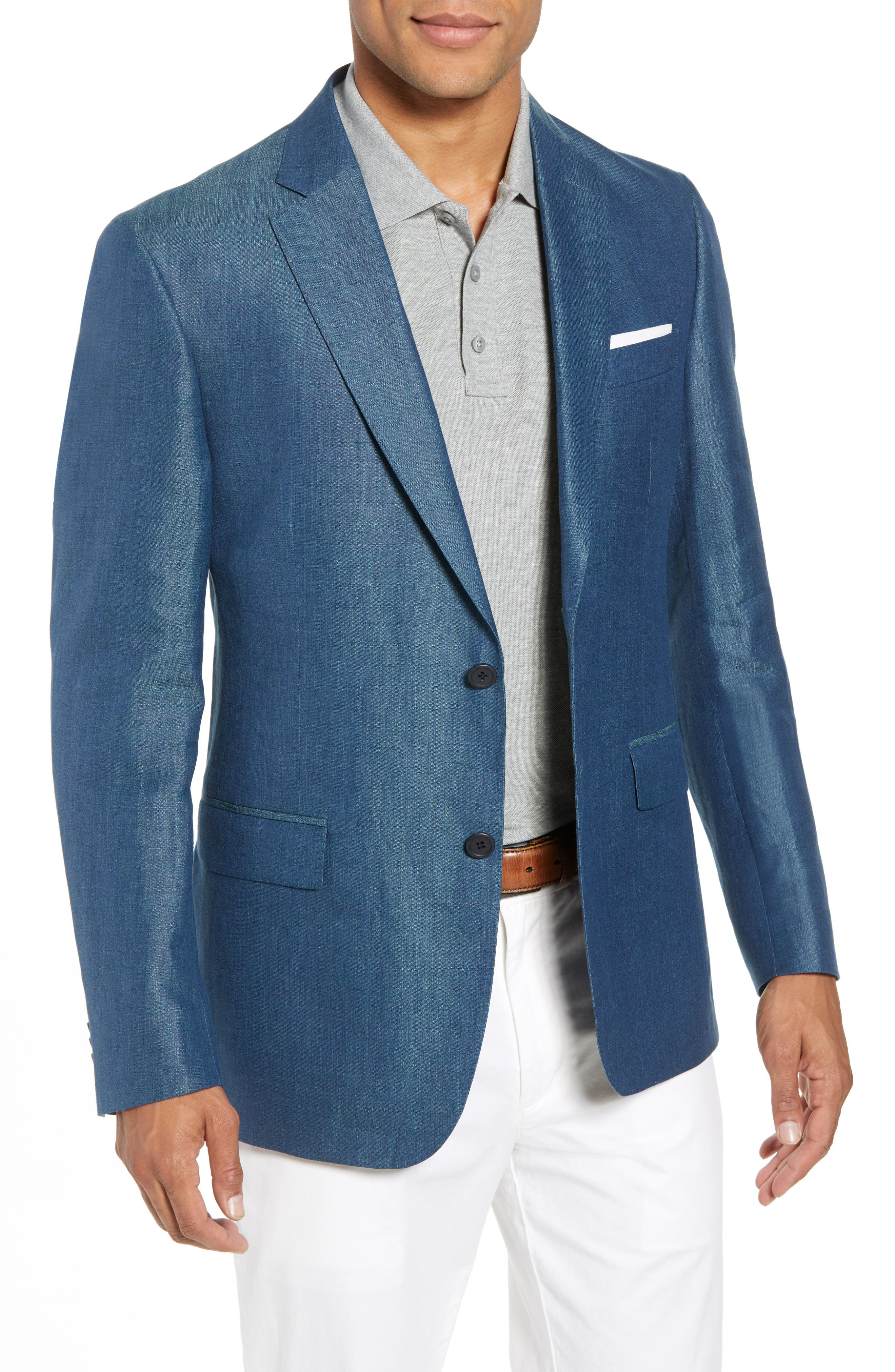 Traditional Fit Linen & Silk Blazer,                         Main,                         color, Teal