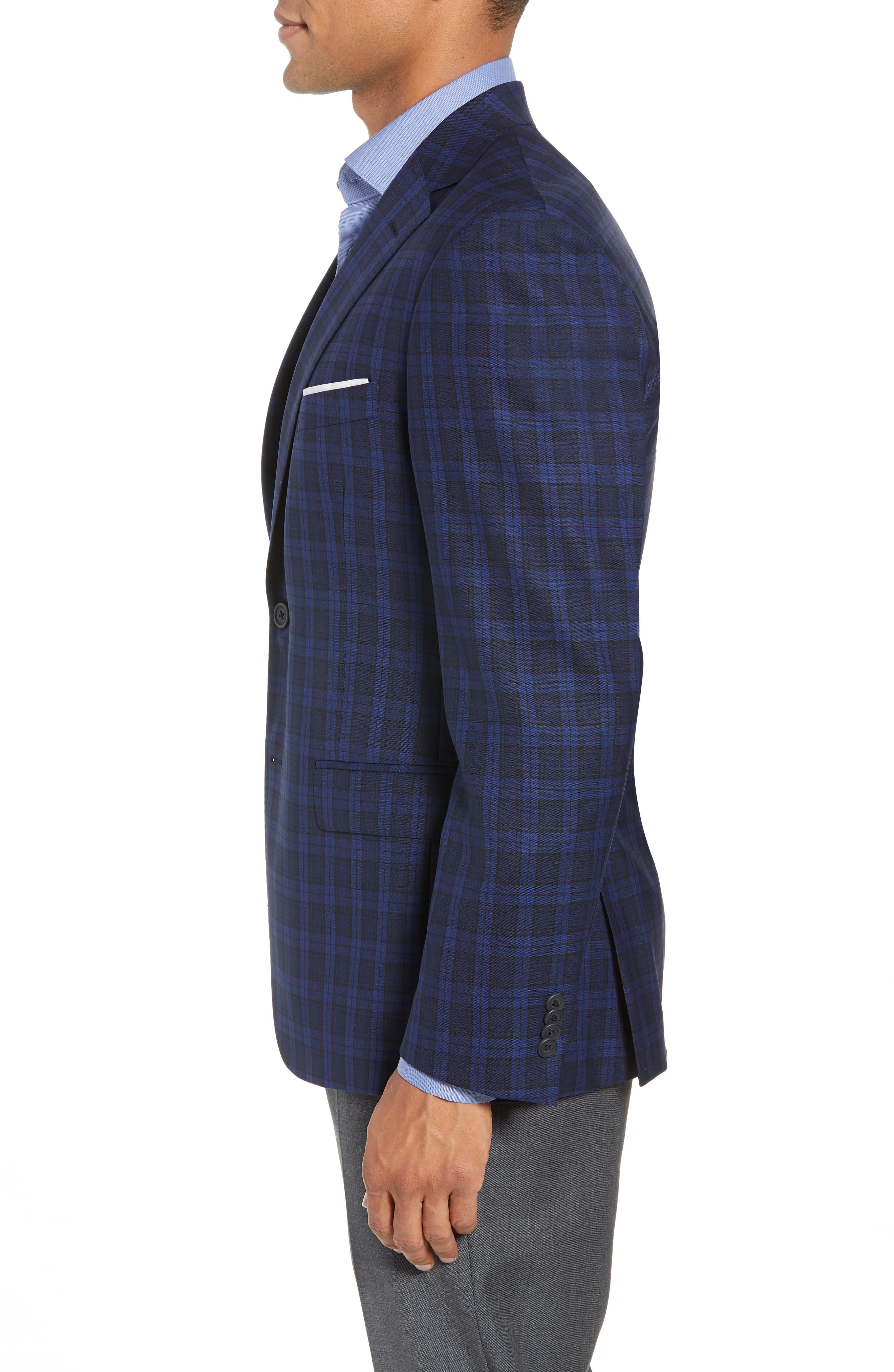 Traditional Fit Plaid Wool Sport Coat,                             Alternate thumbnail 4, color,                             Blue