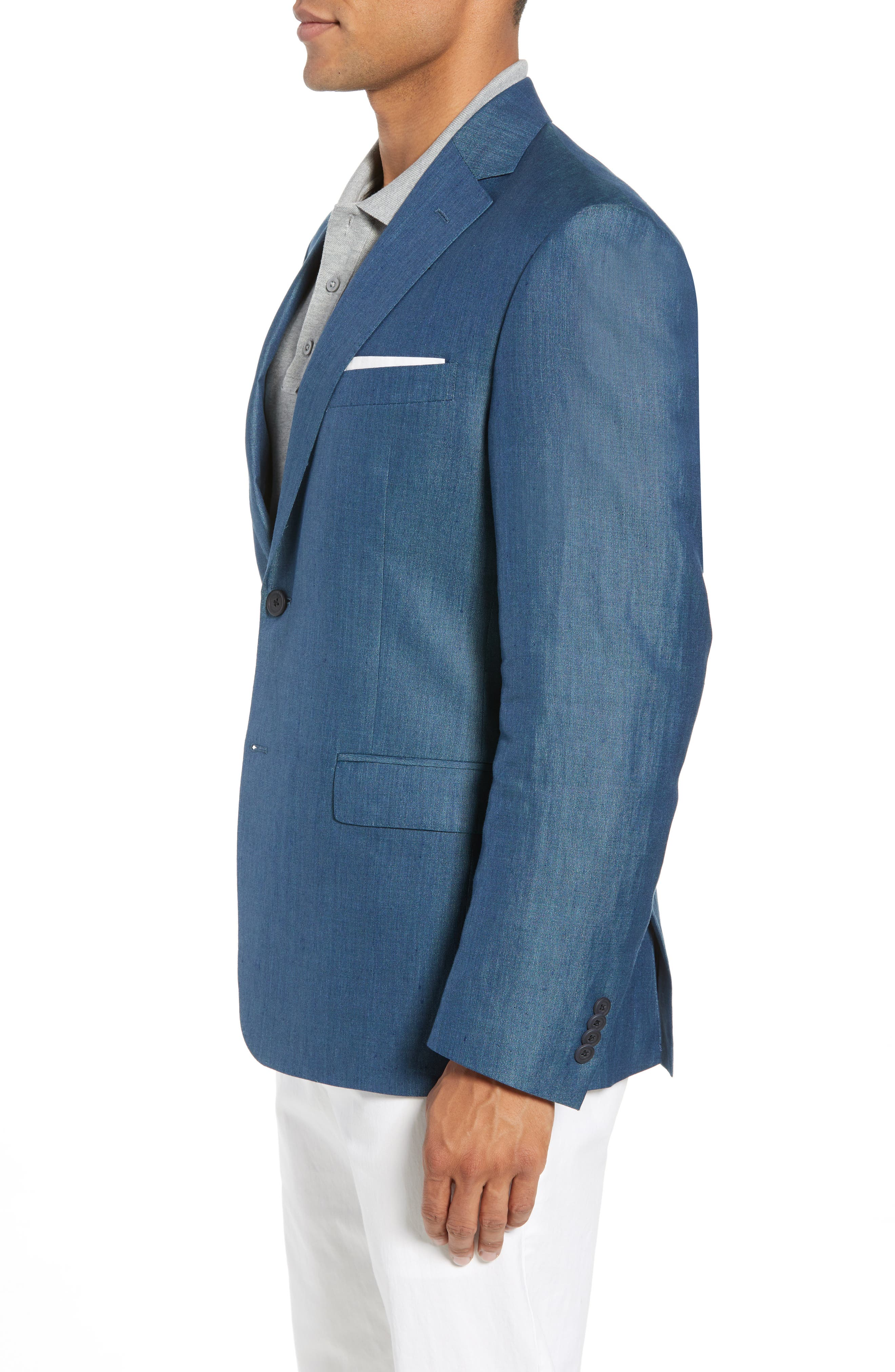 Traditional Fit Linen & Silk Blazer,                             Alternate thumbnail 4, color,                             Teal