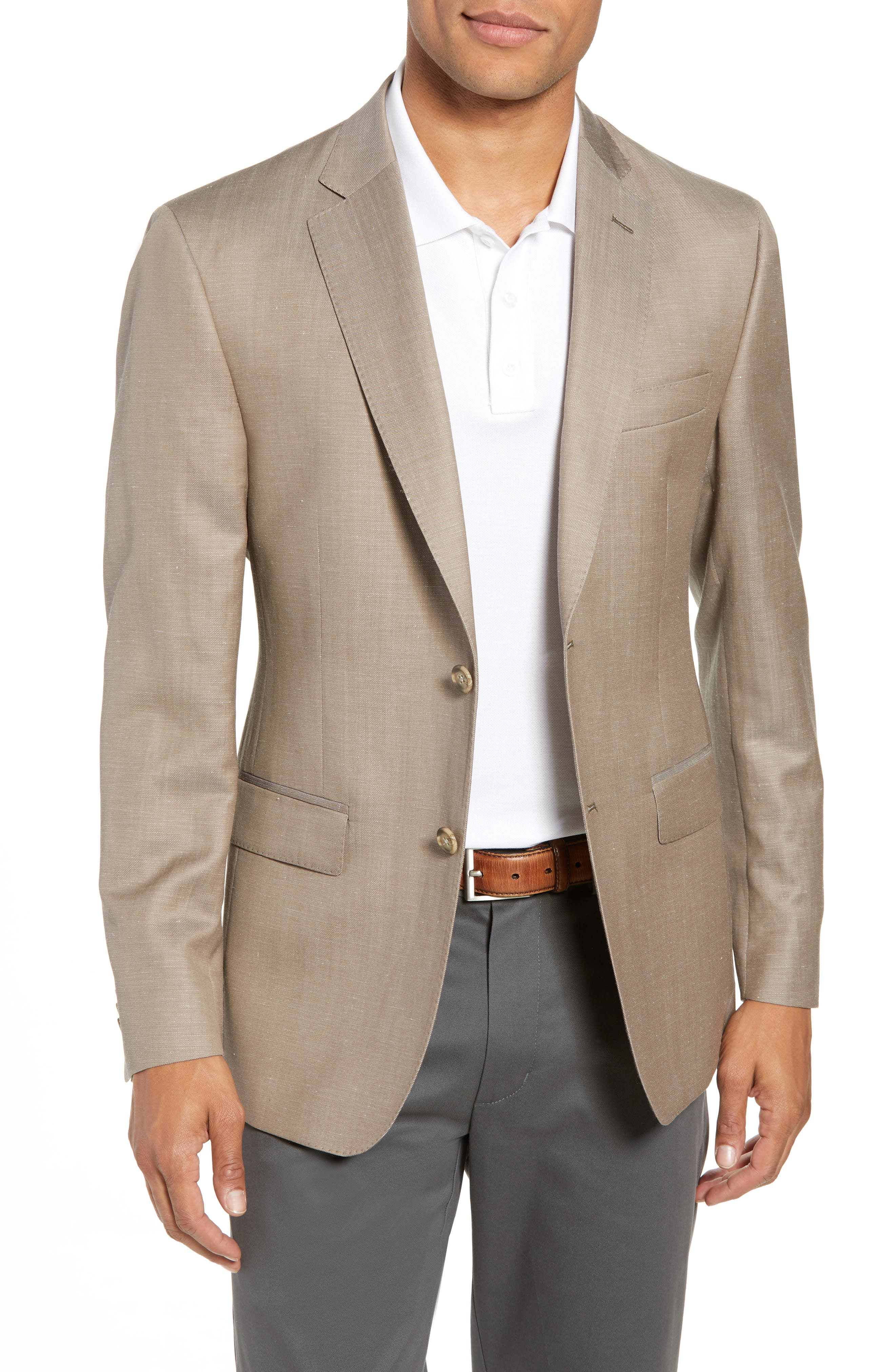 Traditional Fit Wool & Linen Blazer,                         Main,                         color, Tan