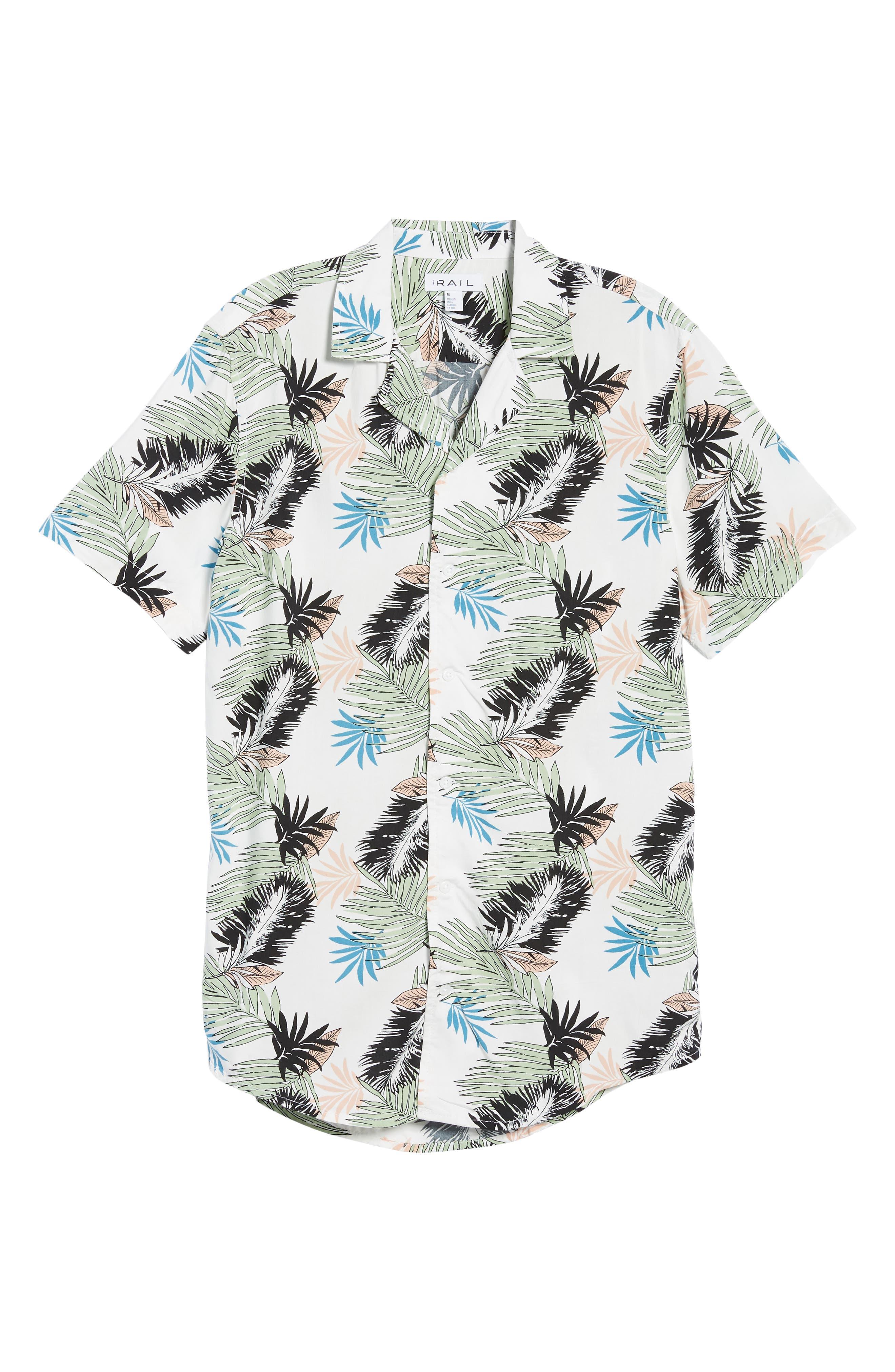 Print Woven Shirt,                             Alternate thumbnail 5, color,                             White Pink Leaf Print