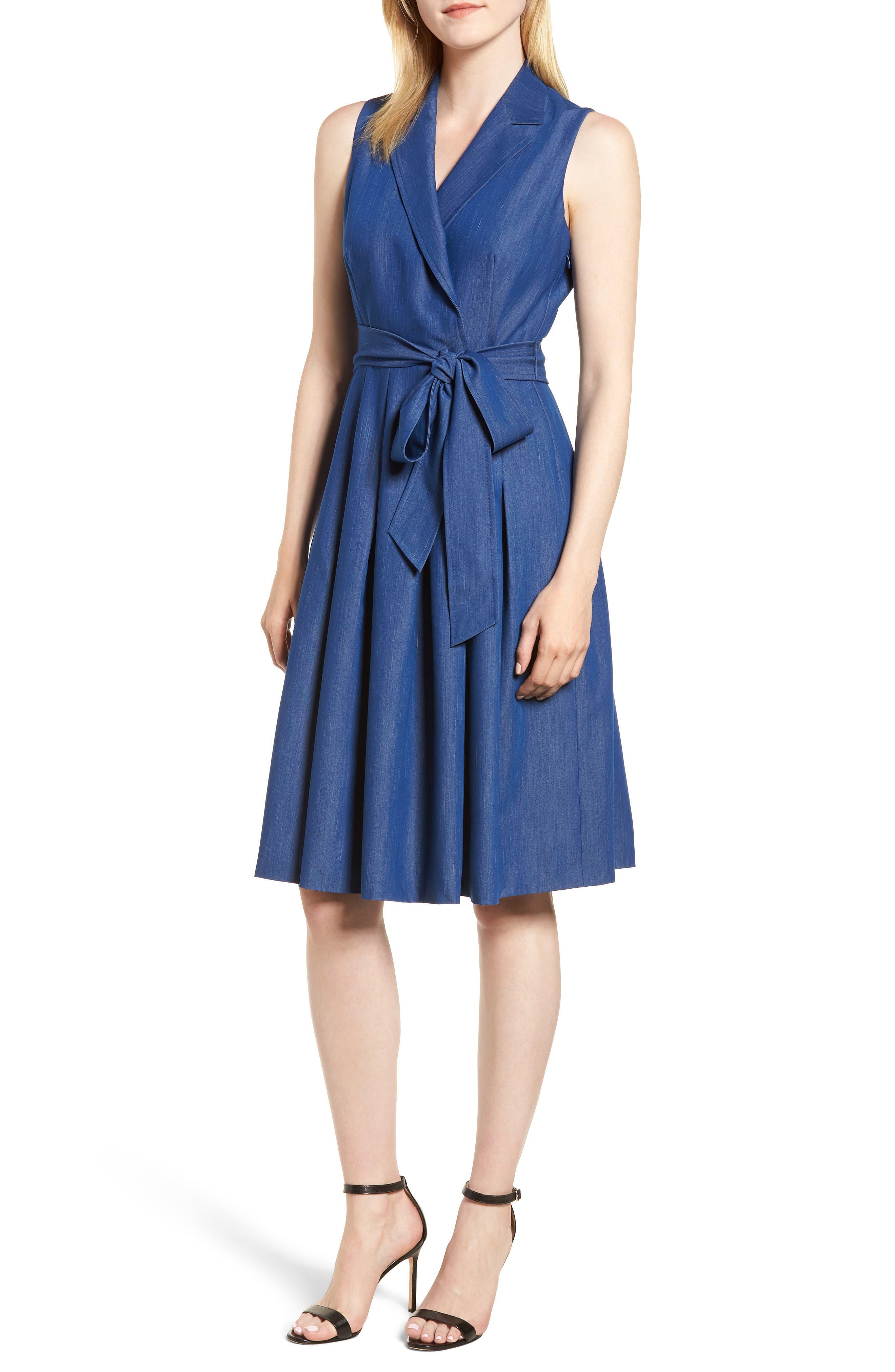ANNE KLEIN CHAMBRAY WRAP DRESS